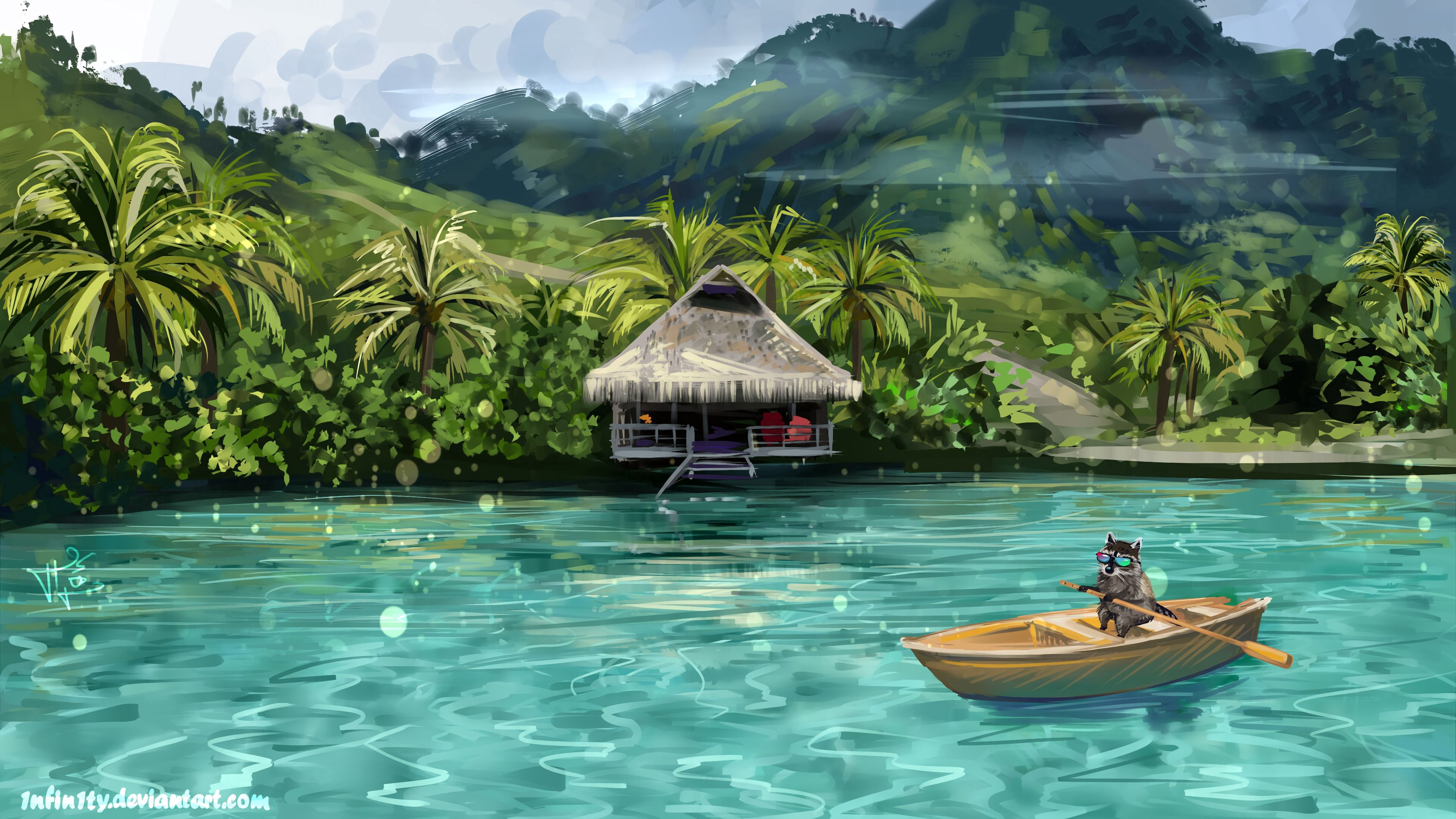 80268 download wallpaper Funny, Water, Art, Boat, Raccoon screensavers and pictures for free