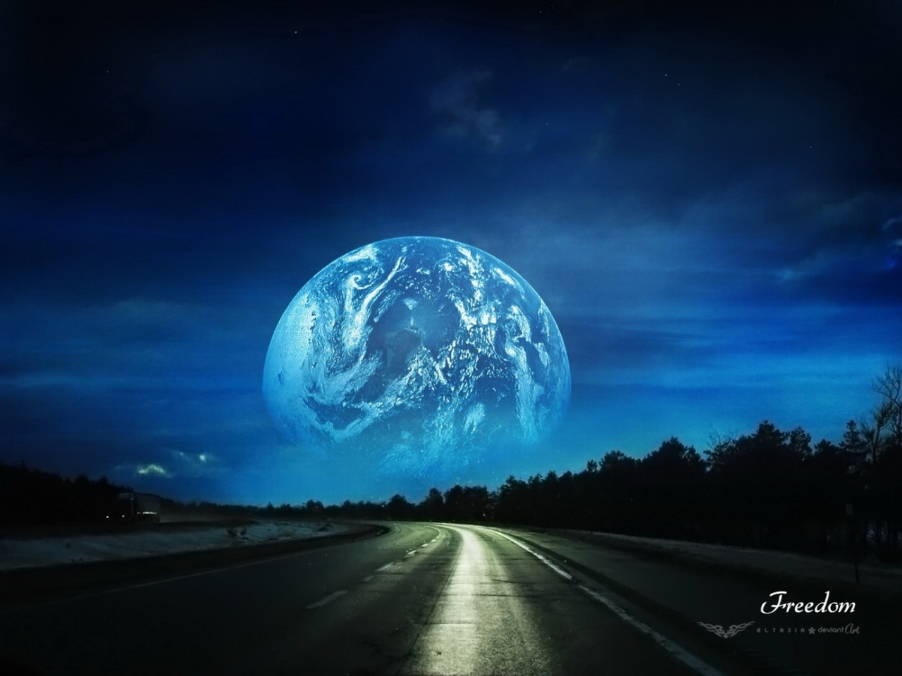 20530 скачать обои Пейзаж, Дороги, Планеты, Ночь - заставки и картинки бесплатно