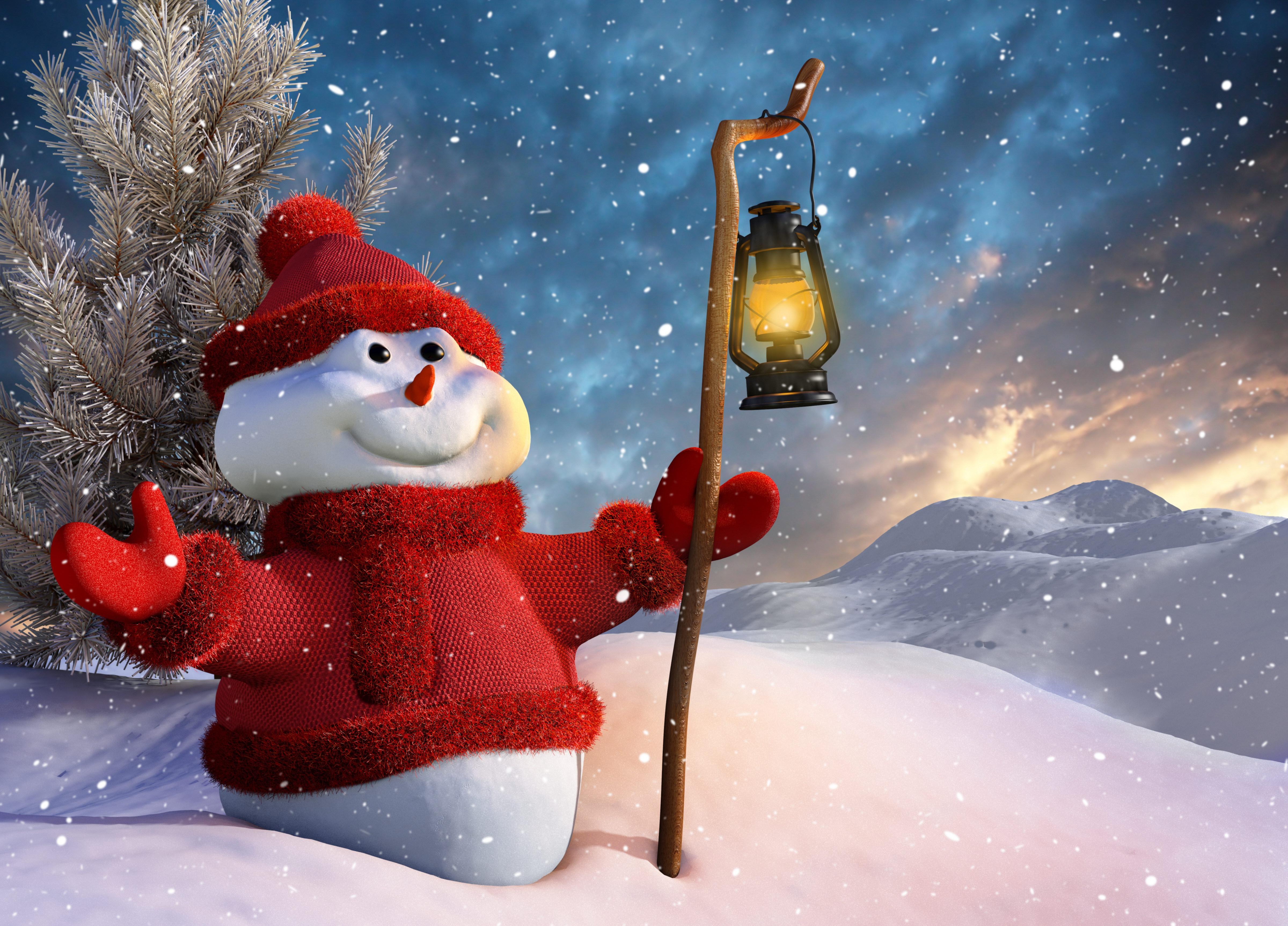 75524 Hintergrundbild herunterladen Feiertage, Mountains, Winterreifen, Schnee, Schneemann, Fir, Lampe, Laterne, Weihnachtsbaum, Personal, 3D-Grafik, 3D-Grafiken, Mitarbeiter - Bildschirmschoner und Bilder kostenlos