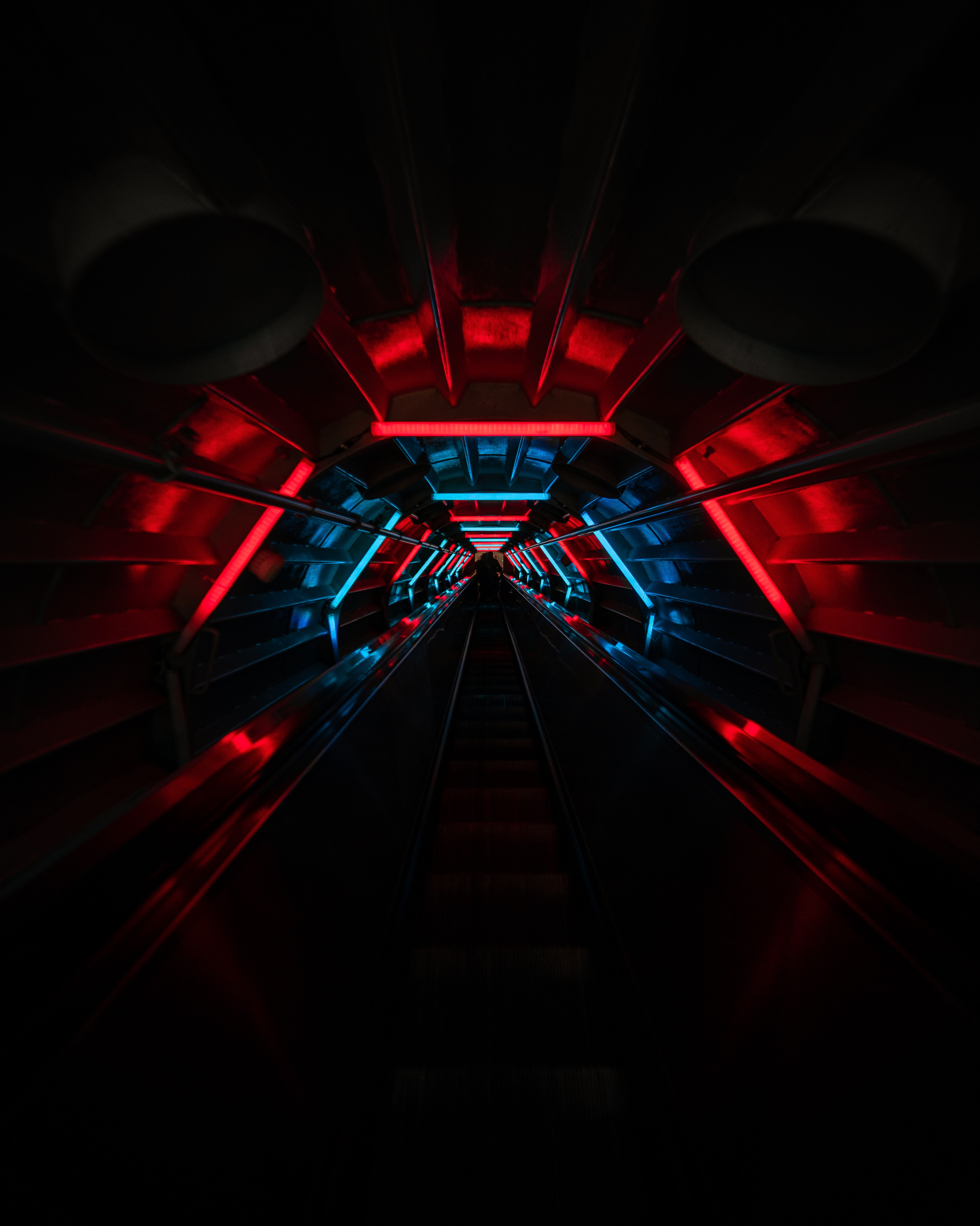 66067 download wallpaper Dark, Tunnel, Neon, Glow, Stairs, Ladder screensavers and pictures for free