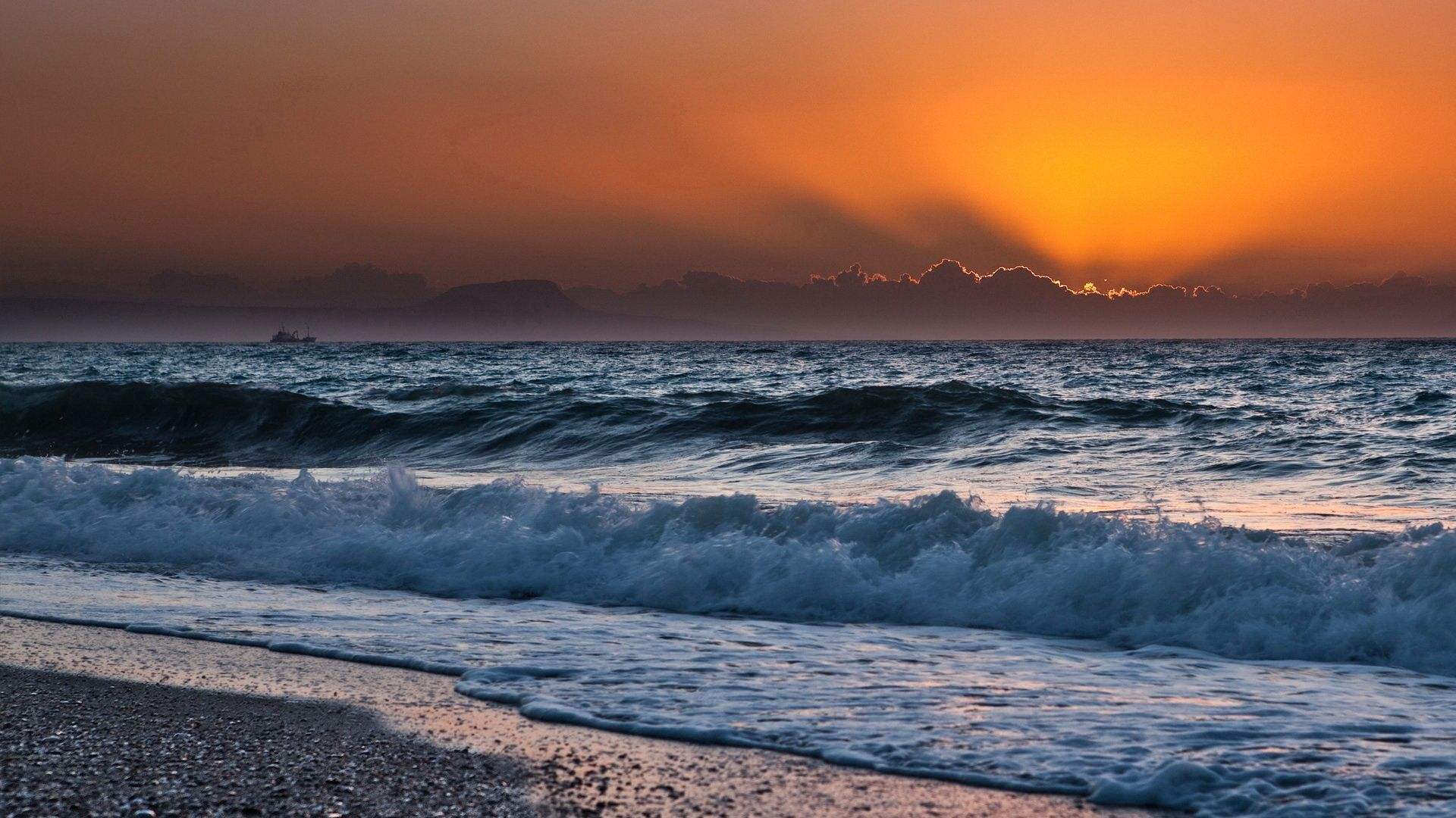 79012 free wallpaper 1080x2400 for phone, download images Nature, Sunset, Sea, Sun, Waves, Horizon, Mainly Cloudy, Overcast, Surf, Line, Noise 1080x2400 for mobile