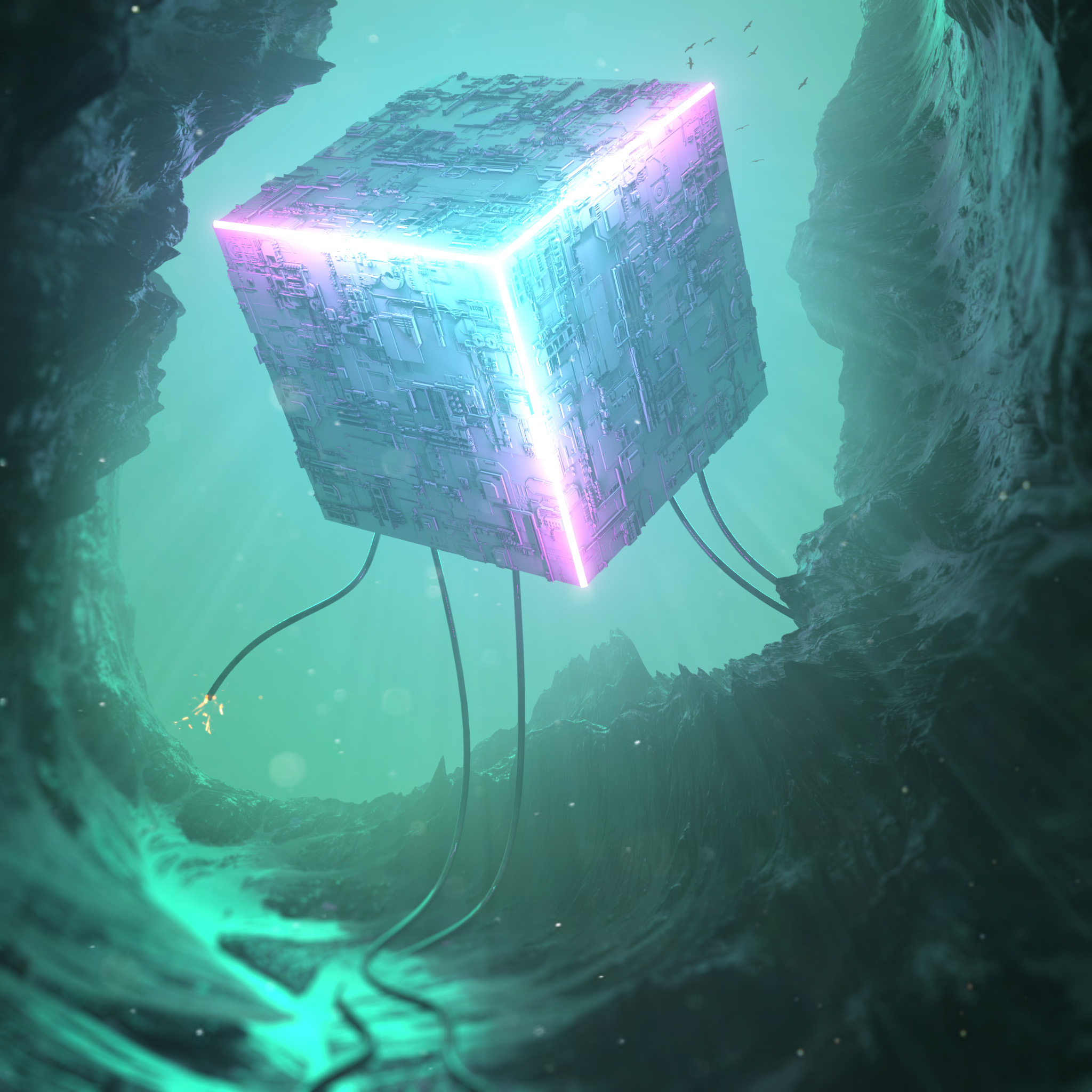 147611 download wallpaper Cube, 3D, Neon, Backlight, Illumination screensavers and pictures for free