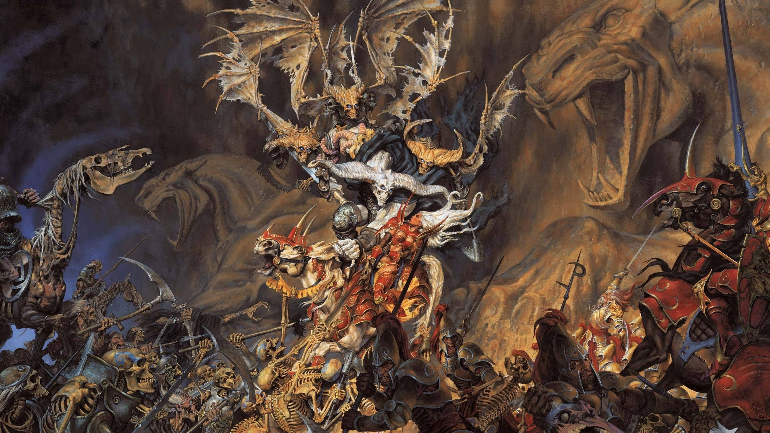87211 download wallpaper Fantasy, Horses, Skeletons, Battle, Demon, Warriors, Undead screensavers and pictures for free