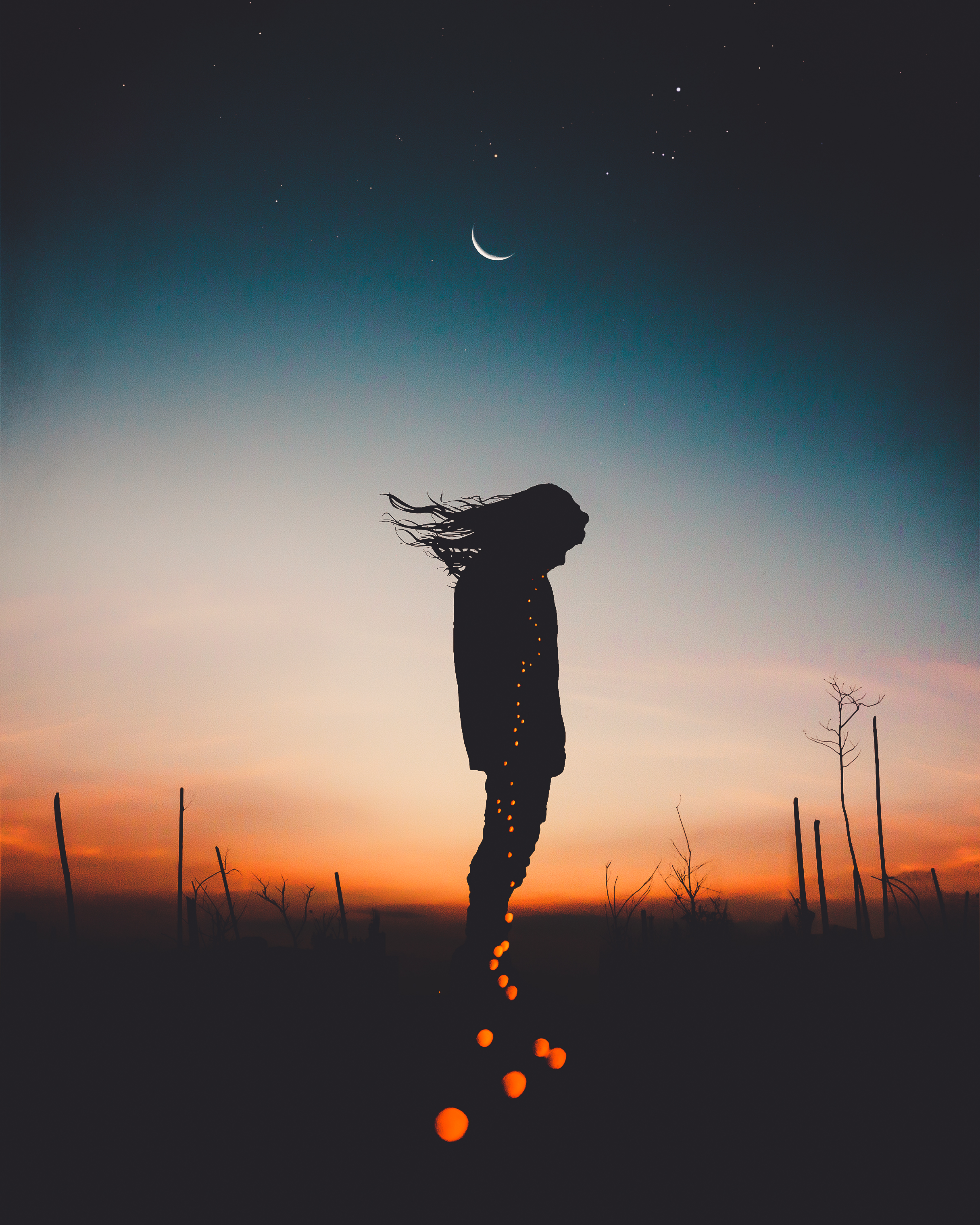 152965 download wallpaper Dark, Silhouette, Human, Person, Shine, Light, Night, Sky screensavers and pictures for free