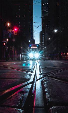 51737 descargar fondo de pantalla Transporte, Ciudad De Noche, Ciudad Nocturna, Brillar, Luz, Faros, Luces, Camino, Ciudades: protectores de pantalla e imágenes gratis