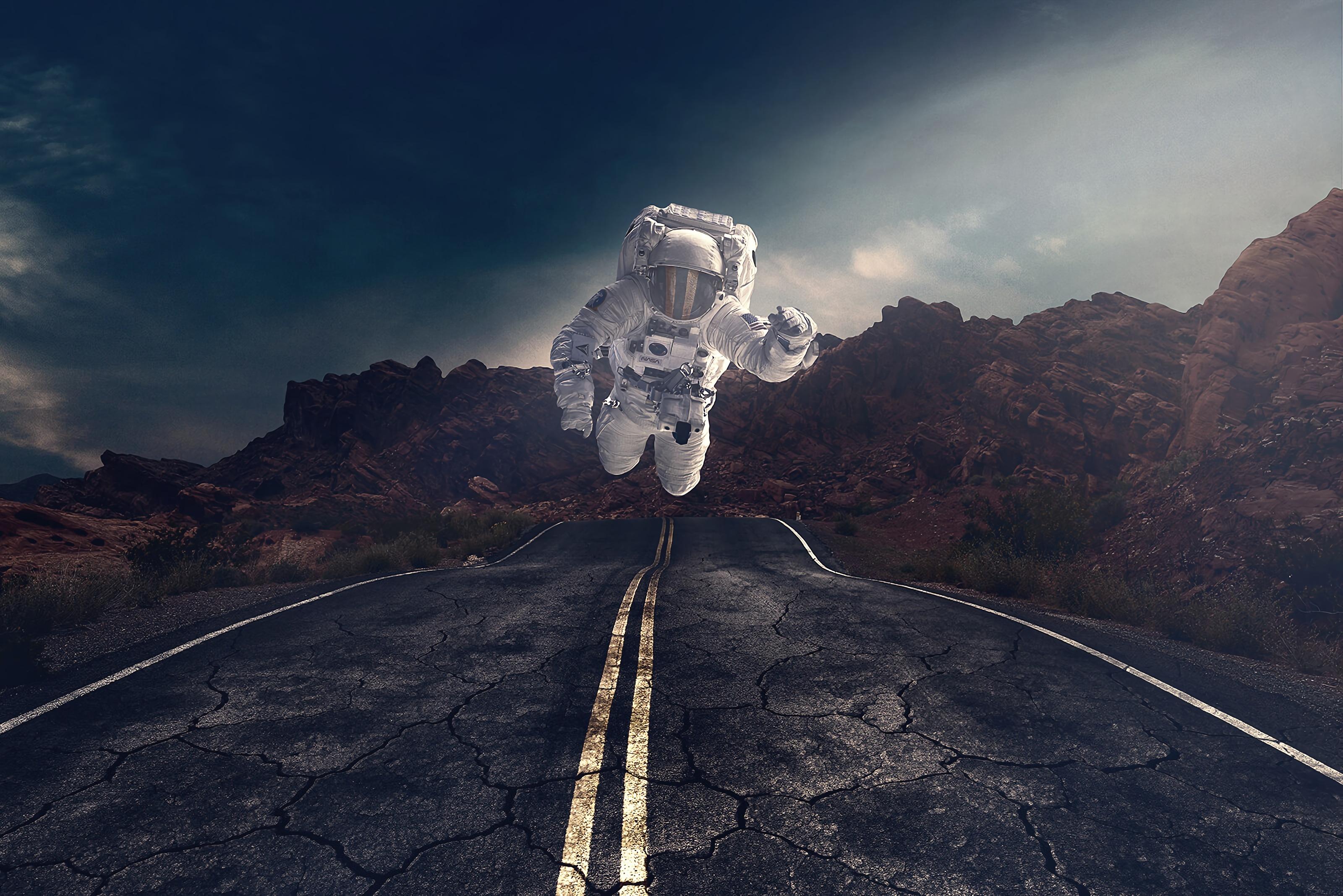 114606 скачать обои Разное, Камни, Асфальт, Скалы, Дорога, Астронавт, Гравитация - заставки и картинки бесплатно