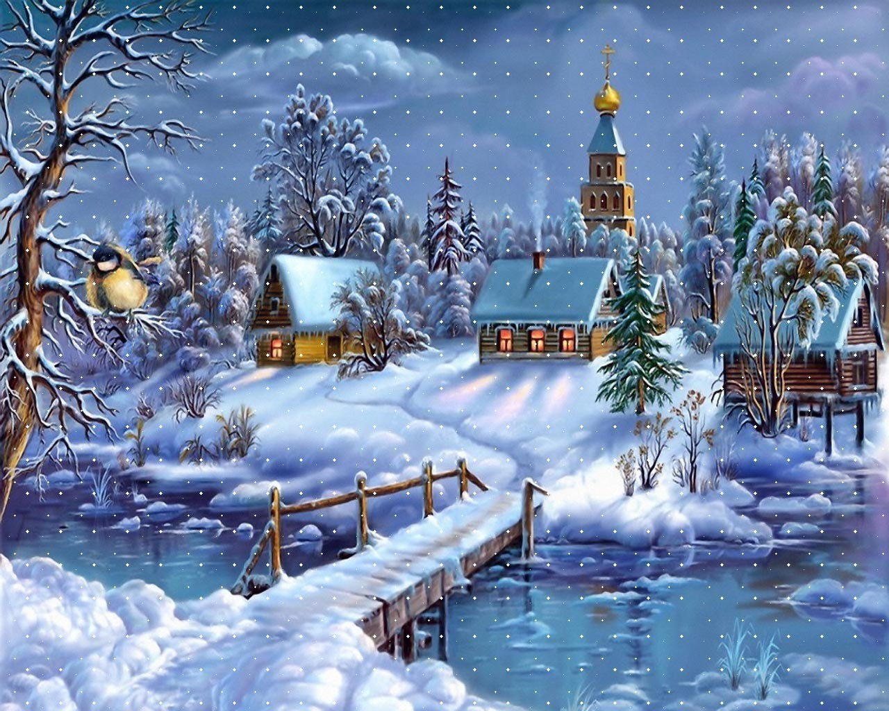 22711 скачать обои Пейзаж, Рисунки, Зима, Дома, Река, Снег - заставки и картинки бесплатно