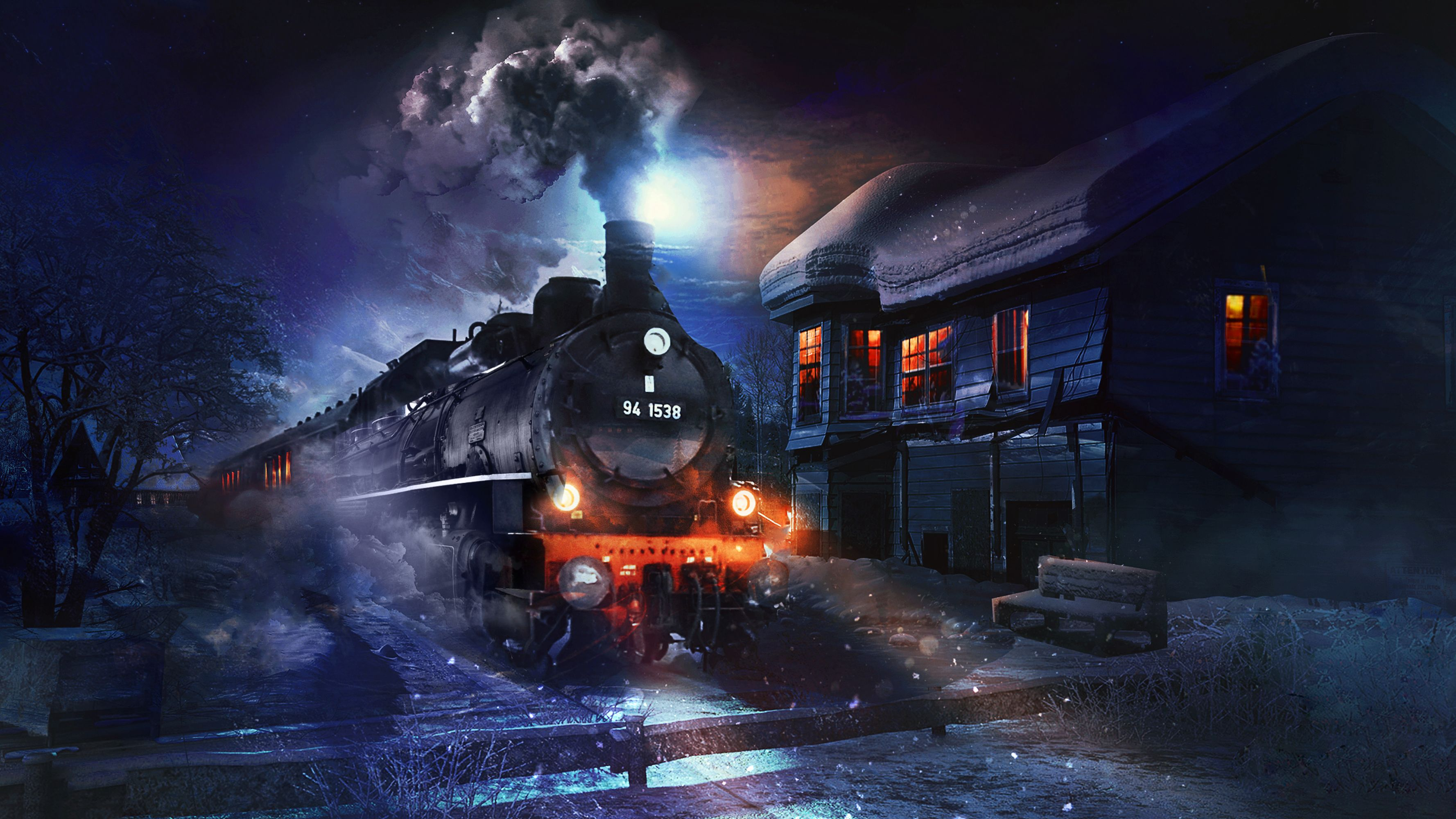 122621 download wallpaper Train, Art, Night, Smoke screensavers and pictures for free