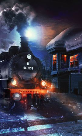122621 Заставки и Обои Ночь на телефон. Скачать Поезд, Арт, Ночь, Дым картинки бесплатно