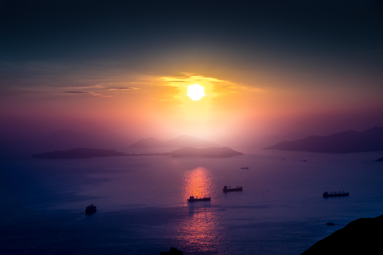85022 Заставки и Обои Лодки на телефон. Скачать Природа, Море, Закат, Лодки, Причал, Горизонт картинки бесплатно