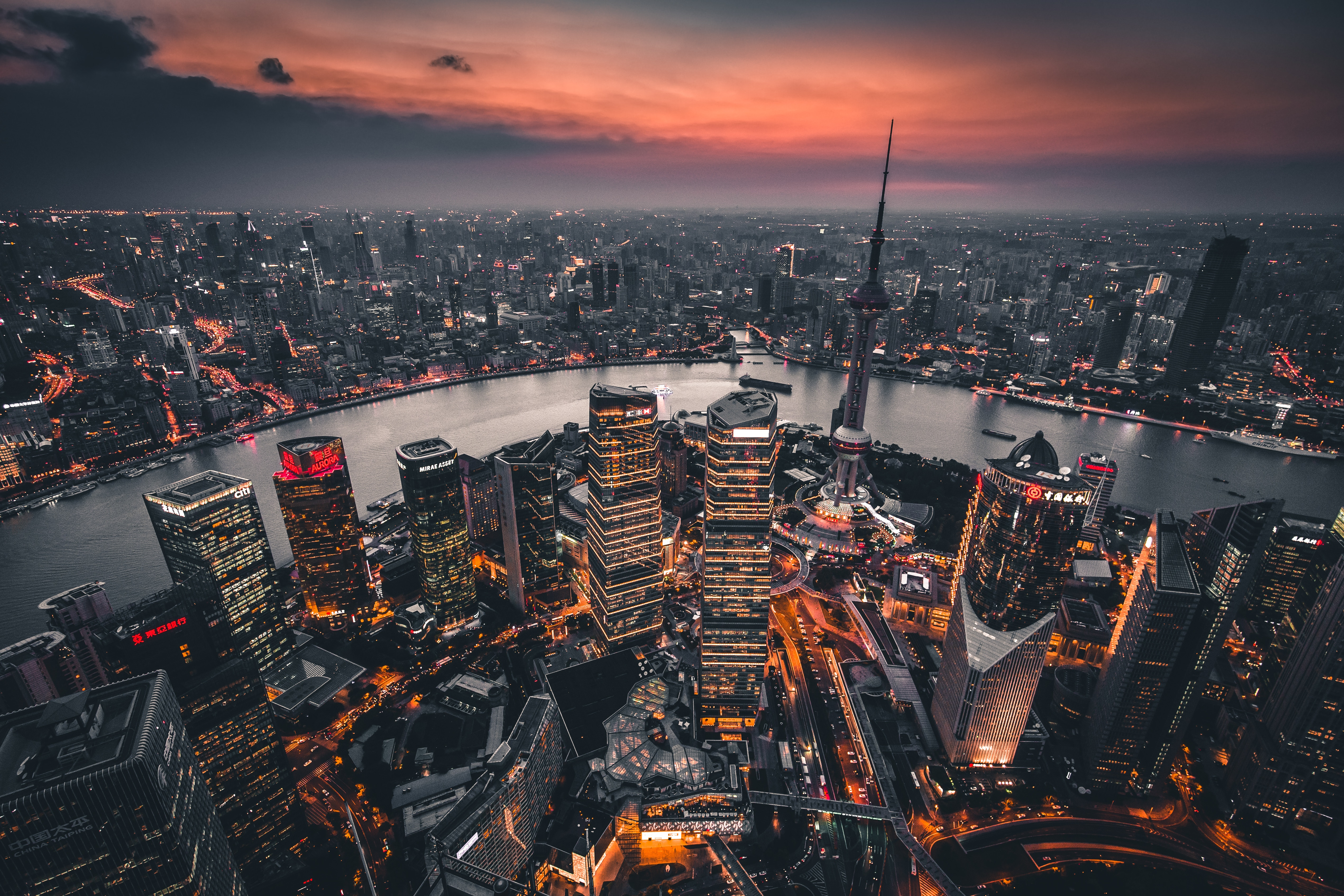 103711 Screensavers and Wallpapers Night City for phone. Download Cities, View From Above, Night City, City Lights, Overview, Review, China, Shanghai pictures for free
