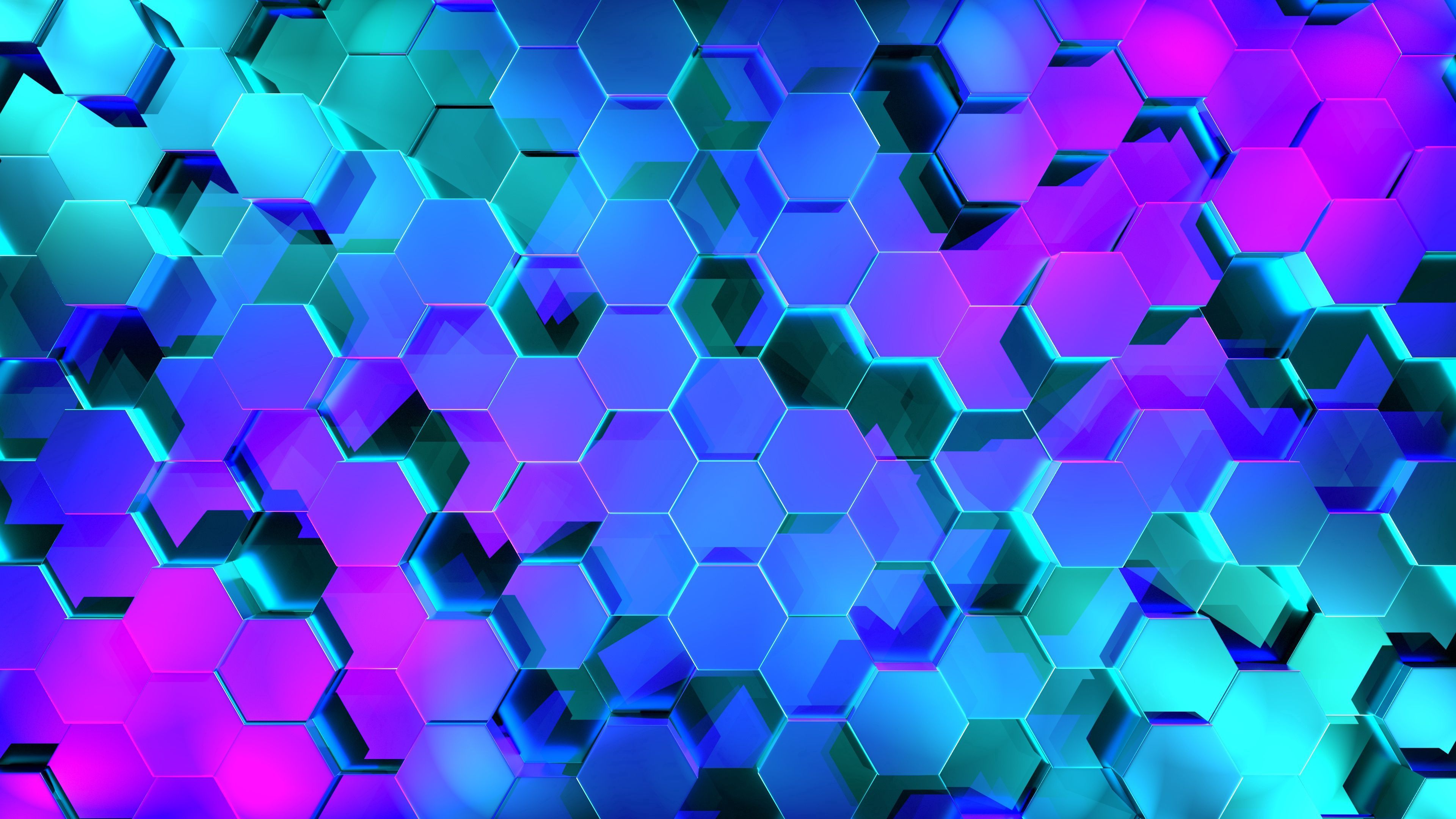 70824 download wallpaper 3D, Hexagons, Rendering, Shine, Light, Form screensavers and pictures for free