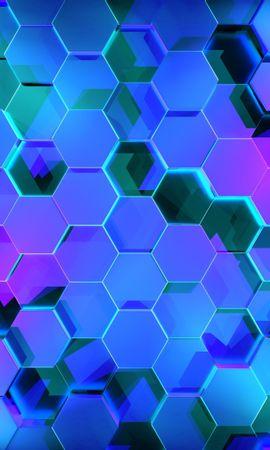 70824 Protetores de tela e papéis de parede 3D em seu telefone. Baixe 3D, Hexágonos, Renderização, Brilhar, Luz, Forma fotos gratuitamente