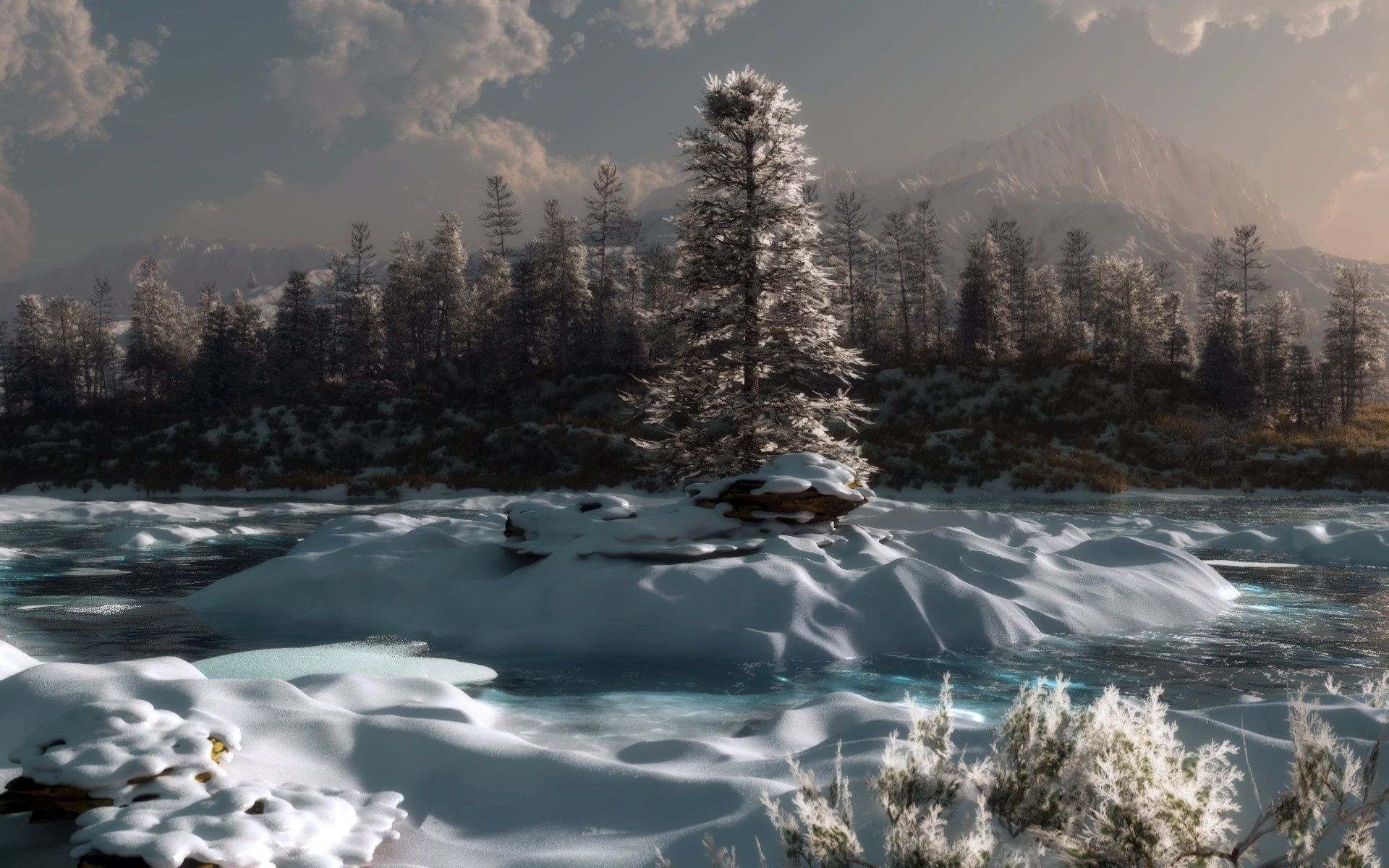 92389 Screensavers and Wallpapers Pine for phone. Download Winter, Nature, Rivers, Pine, Twilight, Snow, Dusk, Evening pictures for free