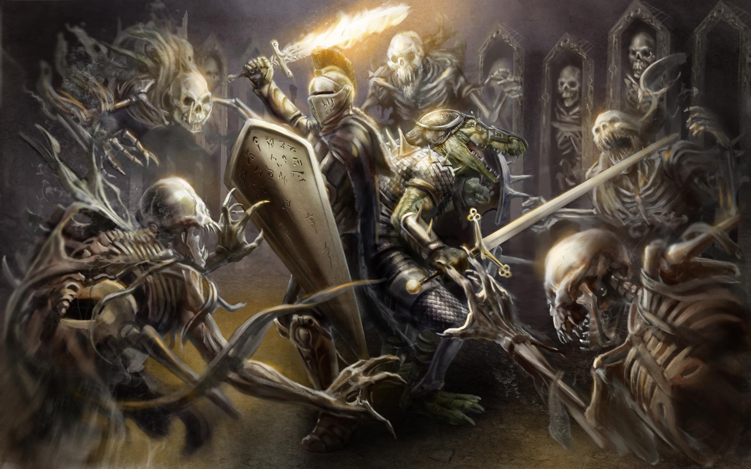 77693 Hintergrundbild herunterladen Skelette, Fantasie, Kunst, Feuer, Waffe, Schild, Helm, Ritter, Krokodil, Rüstung, Schwert - Bildschirmschoner und Bilder kostenlos
