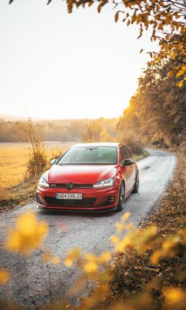 82790 Screensavers and Wallpapers Volkswagen for phone. Download Cars, Volkswagen Golf Gti, Volkswagen, Car, Machine, Front View, Road, Nature pictures for free