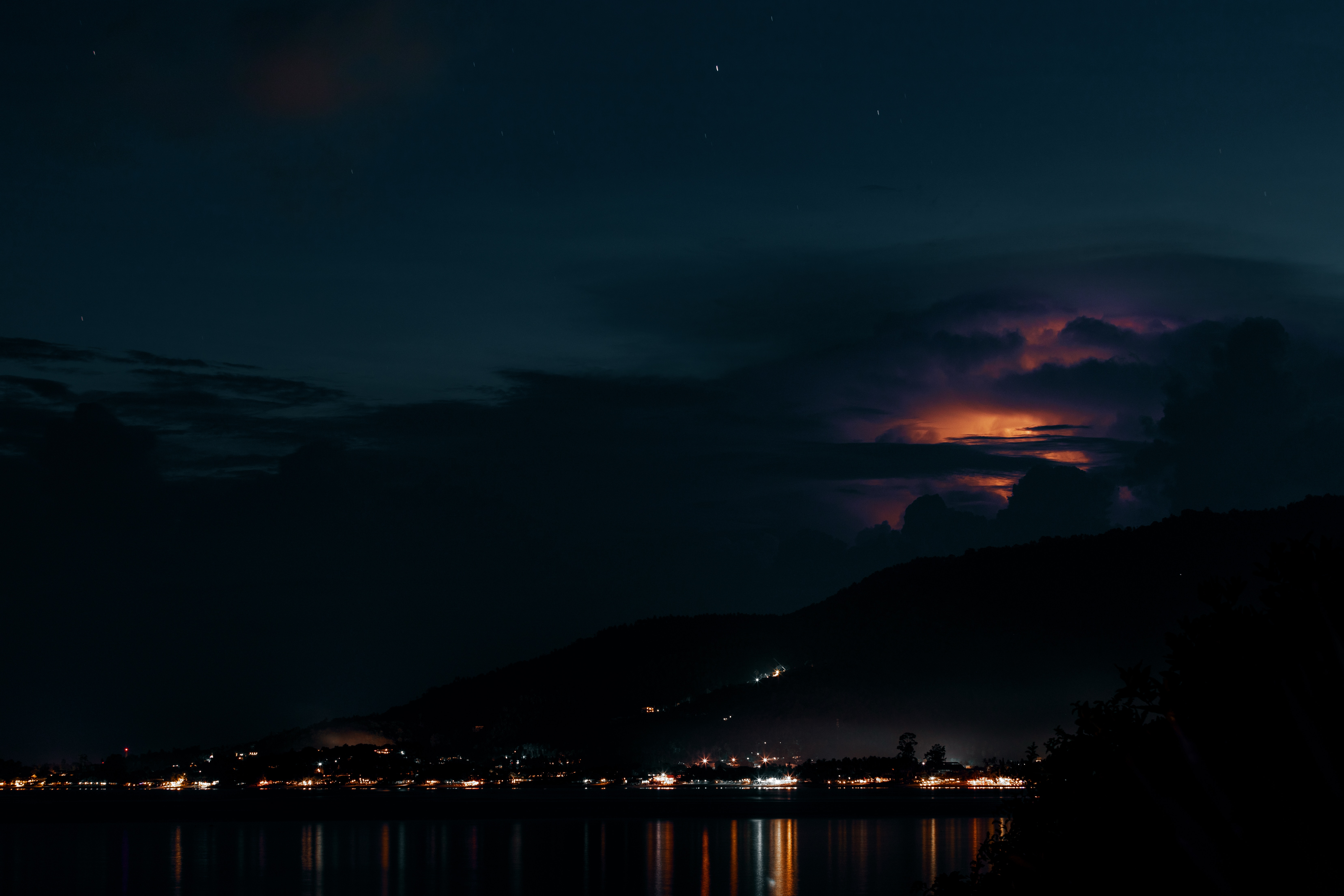 144903 download wallpaper Nature, Night, Sky, Clouds, Horizon, Rivers, Dark screensavers and pictures for free