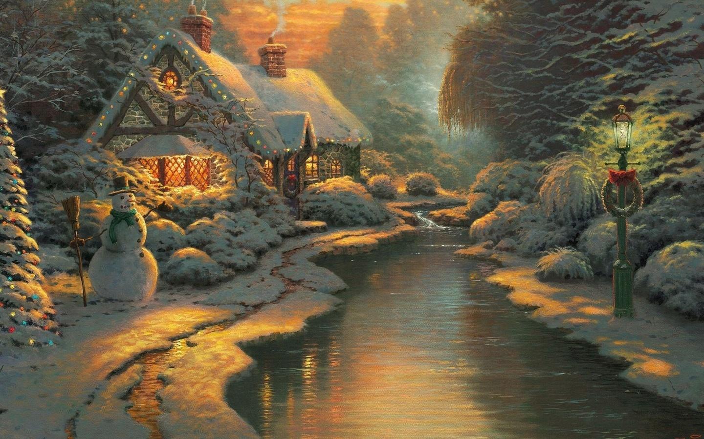 19887 скачать обои Рождество (Christmas, Xmas), Праздники, Зима, Новый Год (New Year), Снег, Рисунки, Снеговики - заставки и картинки бесплатно