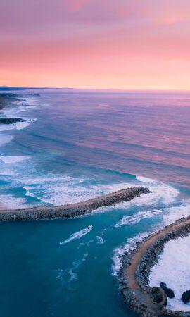 133426 скачать обои Природа, Залив, Океан, Вид Сверху, Побережье, Закат - заставки и картинки бесплатно