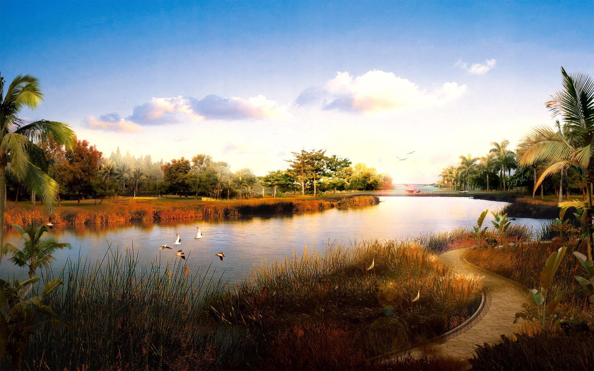 20764 скачать обои Пейзаж, Река, Пальмы - заставки и картинки бесплатно
