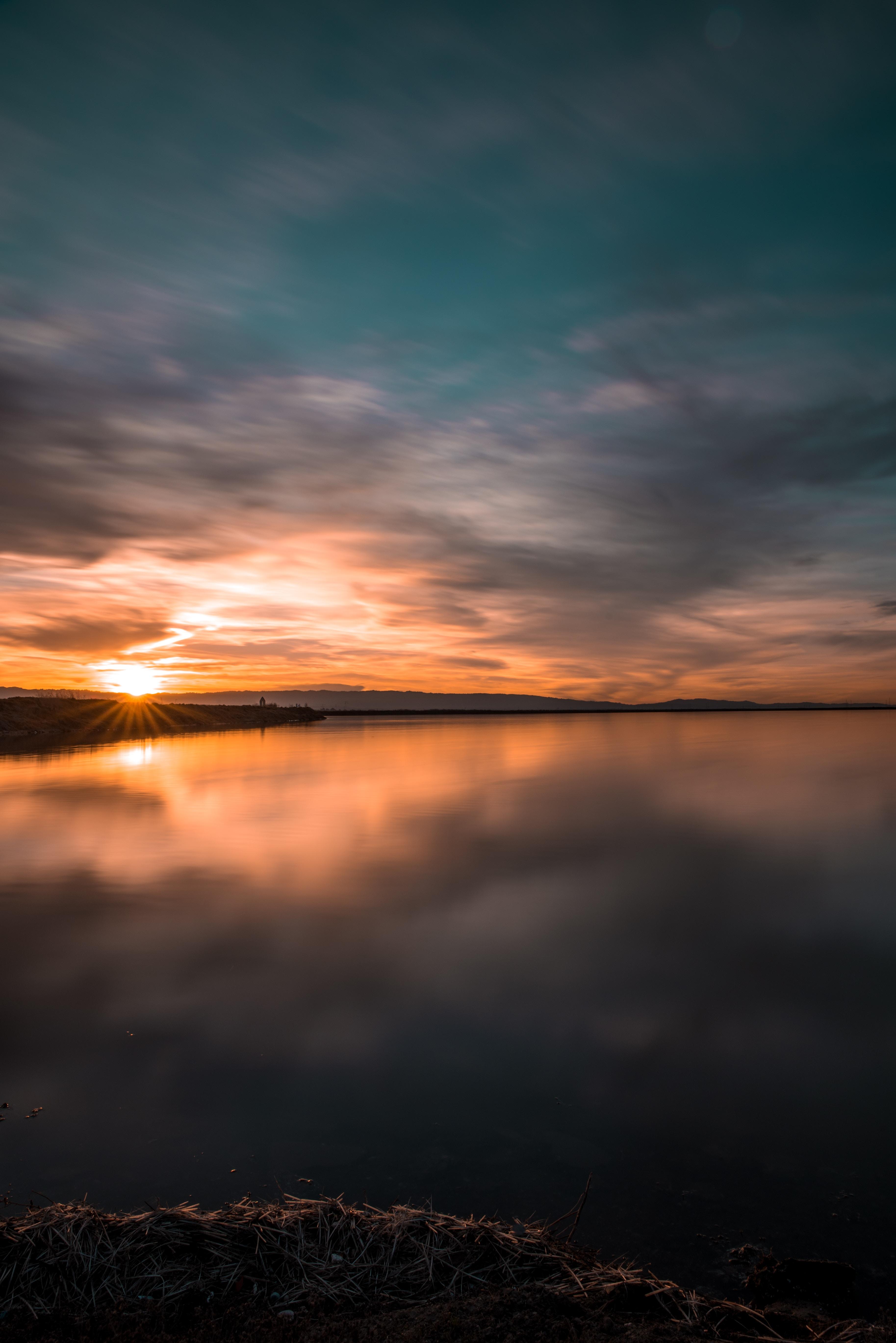 81862 Заставки и Обои Озеро на телефон. Скачать Озеро, Горизонт, Закат, Природа, Небо картинки бесплатно