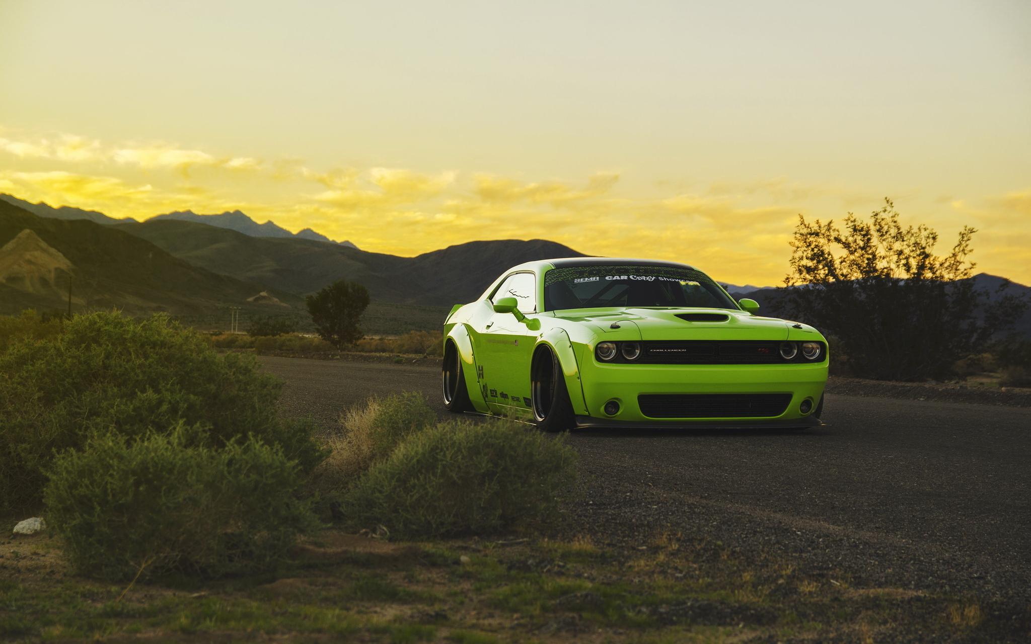 130327 скачать обои Muscle Car, Dodge Challenger, Тюнинг, Тачки (Cars), Светло Зеленый - заставки и картинки бесплатно