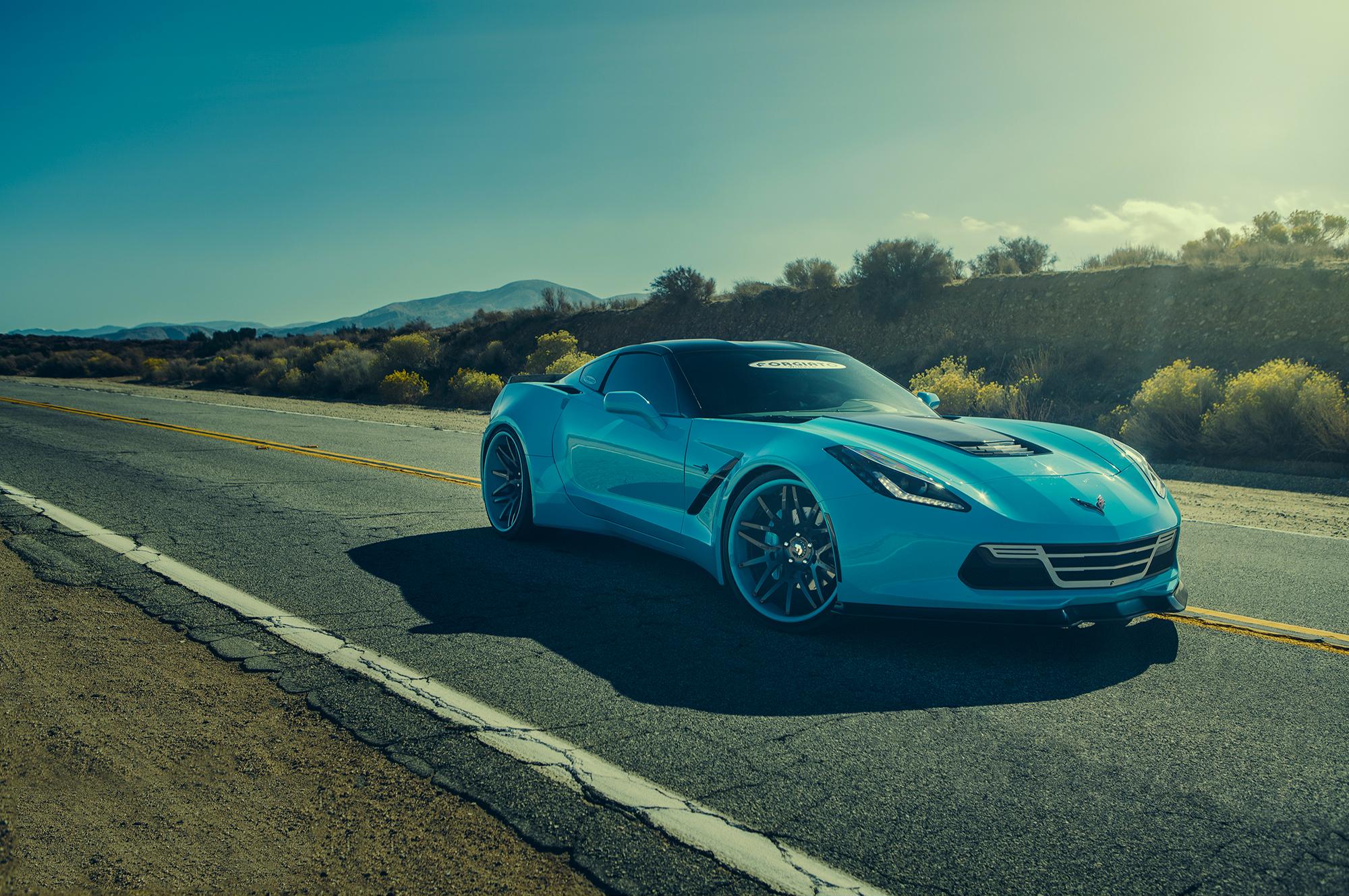 113211 скачать обои Тачки (Cars), Forgiato, Corvette, Шевроле (Chevrolet), Голубой, Вид Сбоку - заставки и картинки бесплатно