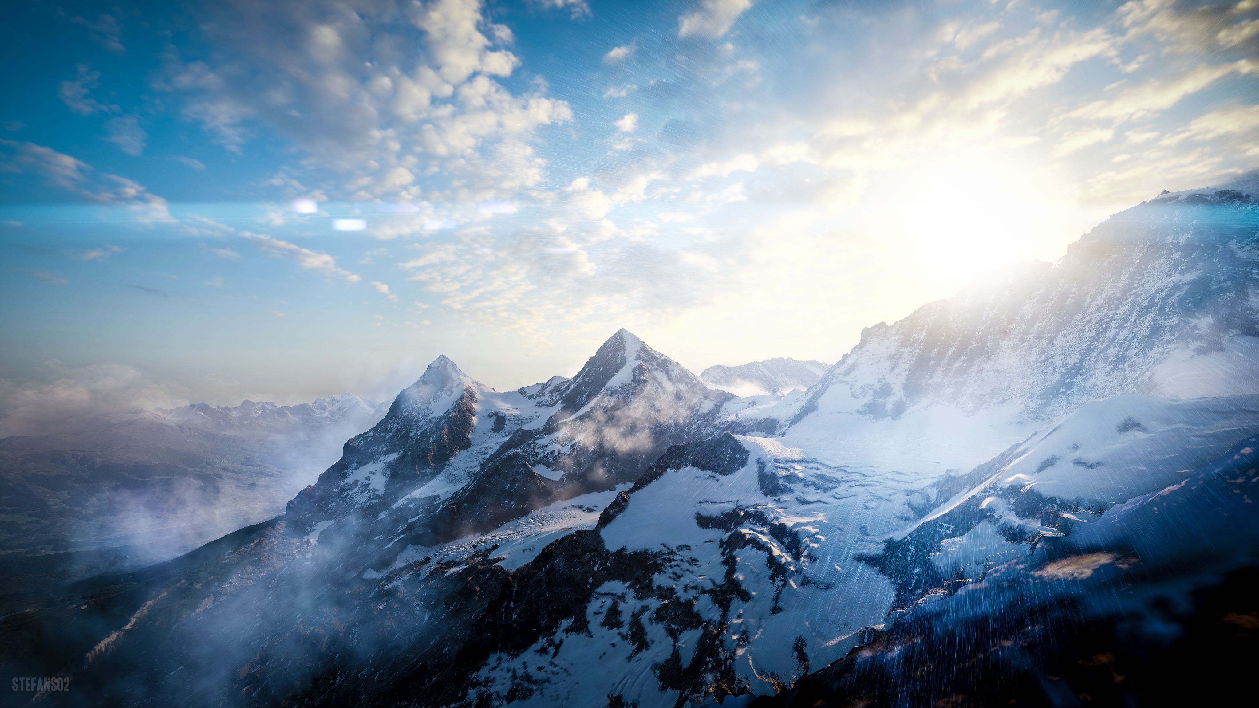 59153 download wallpaper Nature, Tops, Vertex, Sky, Snow Covered, Snowbound, View From Above, Sunlight, Mountains screensavers and pictures for free