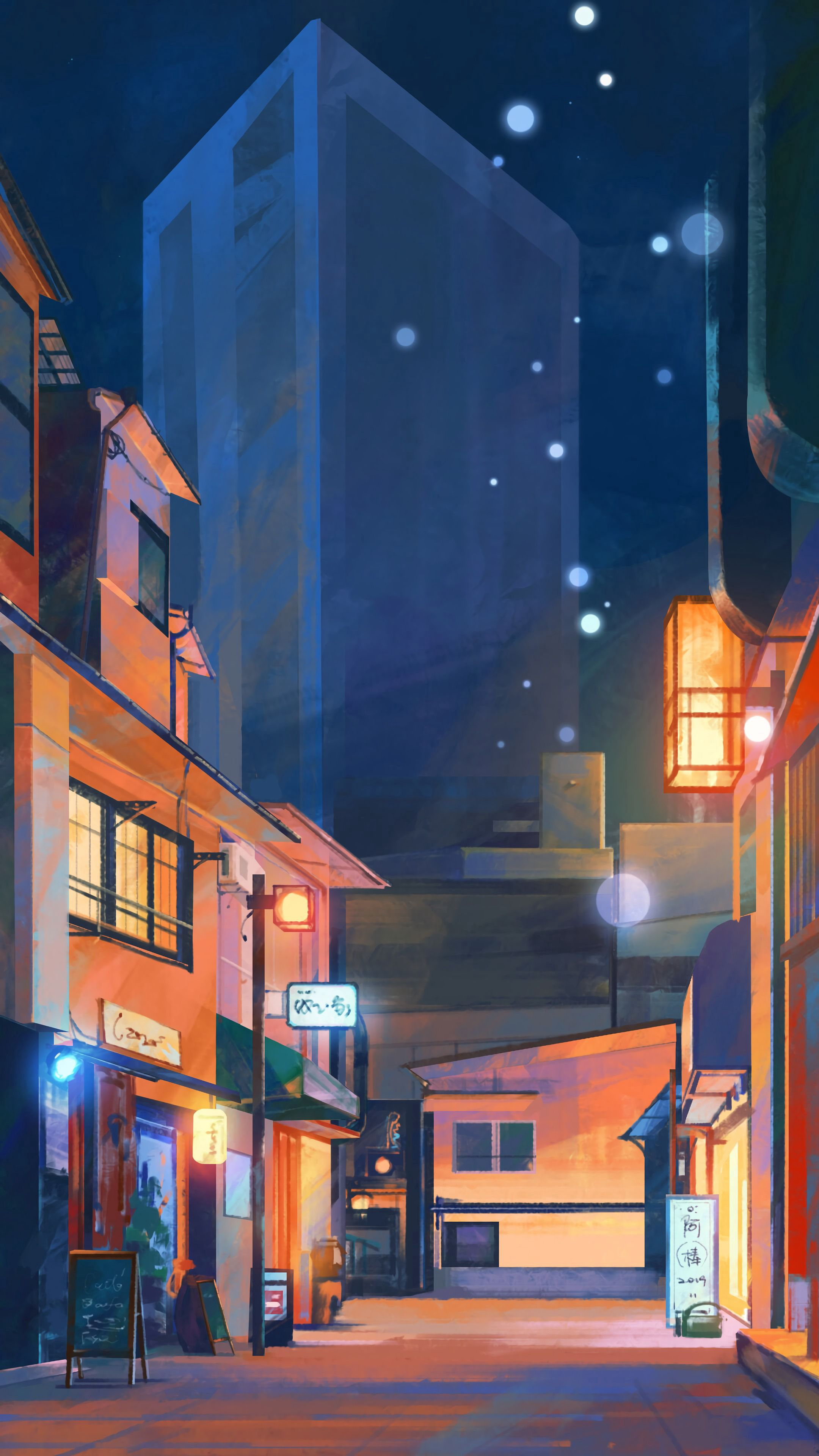 70020 download wallpaper Art, Night, City, Paint screensavers and pictures for free