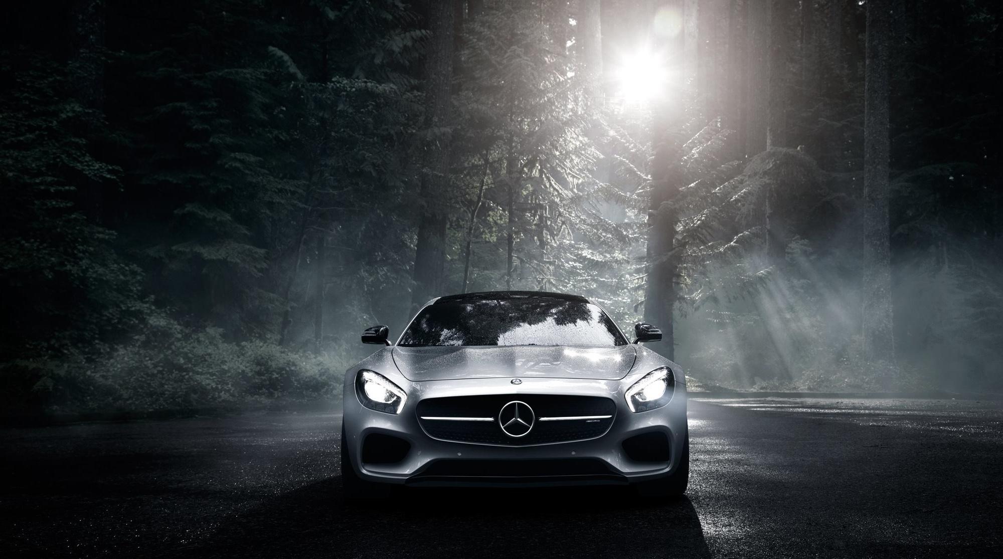 61087 Заставки и Обои Вид Спереди на телефон. Скачать Mercedes-Benz, Вид Спереди, Тачки (Cars), Лес, Серебристый, Mercedes-Amg картинки бесплатно