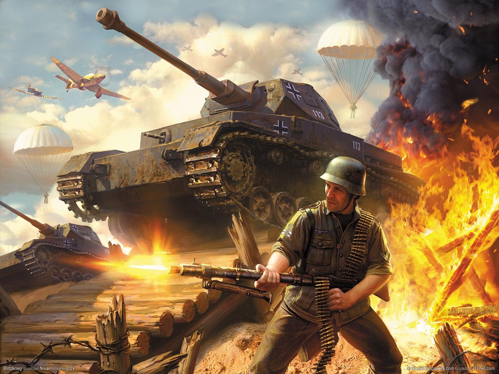 11208 Hintergrundbild herunterladen Menschen, Spiele, Feuer, Raucher, Tanks, War, Blitzkrieg - Bildschirmschoner und Bilder kostenlos