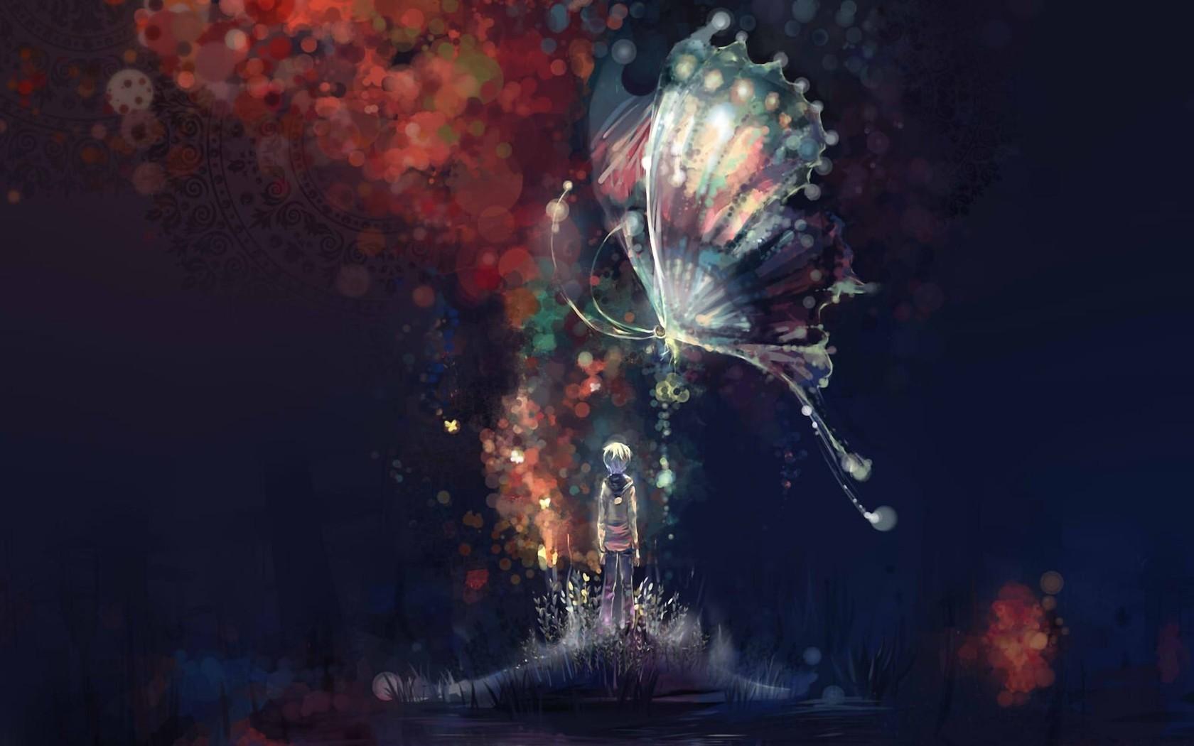 26734 скачать обои Бабочки, Дети, Рисунки - заставки и картинки бесплатно