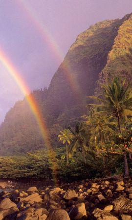 68209 télécharger le fond d'écran Nature, Arc En Ciel, Sky, Noyaux, Des Nuages, Nuage, Rive, Banque, Hawaii, Hawaï, Palms - économiseurs d'écran et images gratuitement