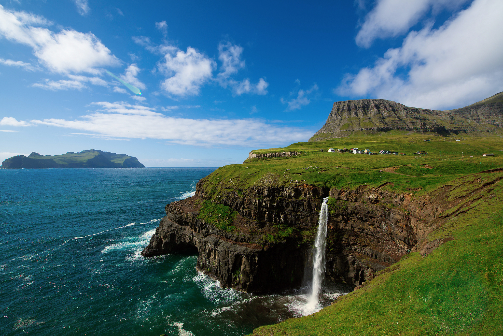 17175 download wallpaper Landscape, Mountains, Sea, Waterfalls screensavers and pictures for free