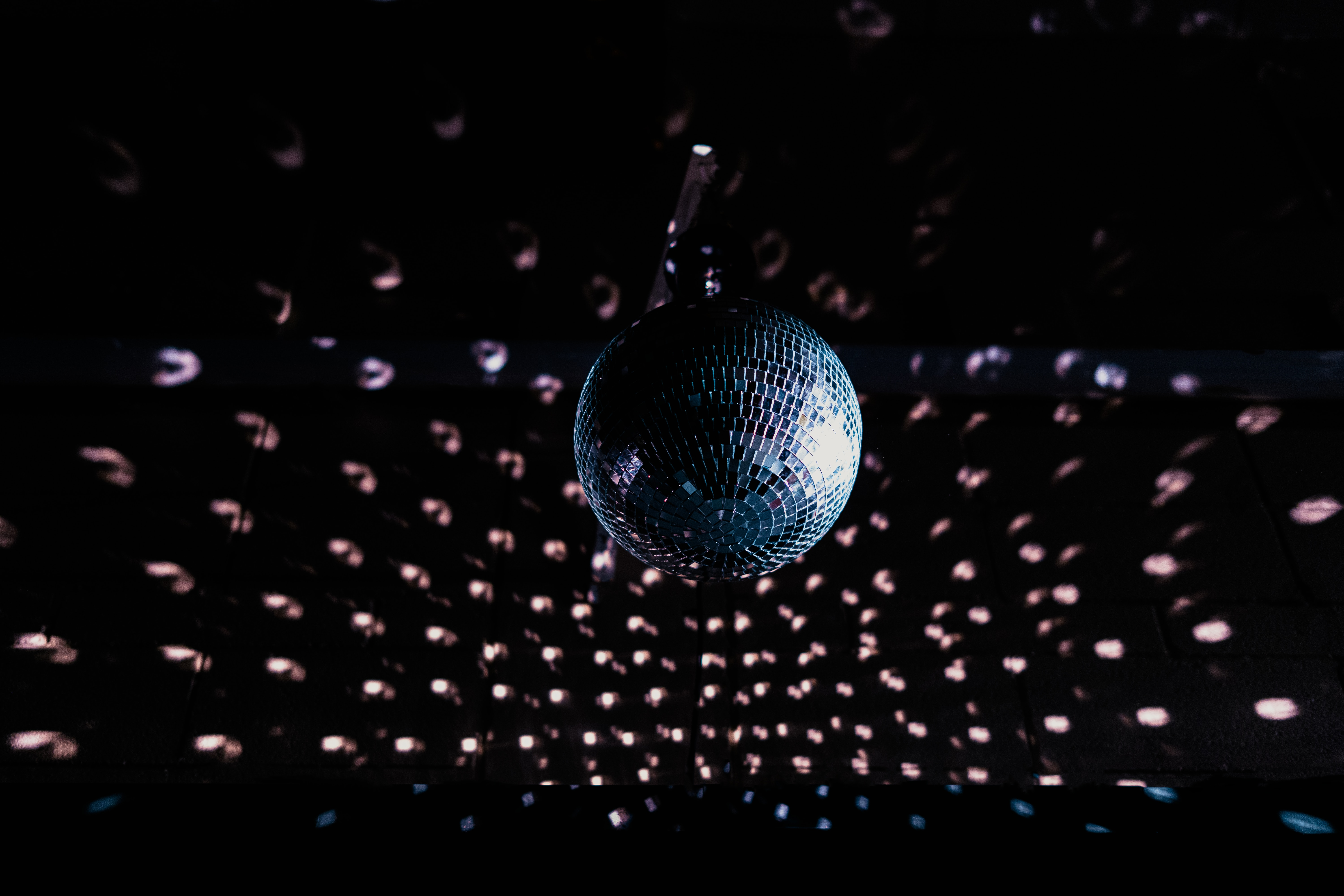 59179 download wallpaper Music, Disco Ball, Ball, Sphere, Mirrored, Mirror, Dark screensavers and pictures for free