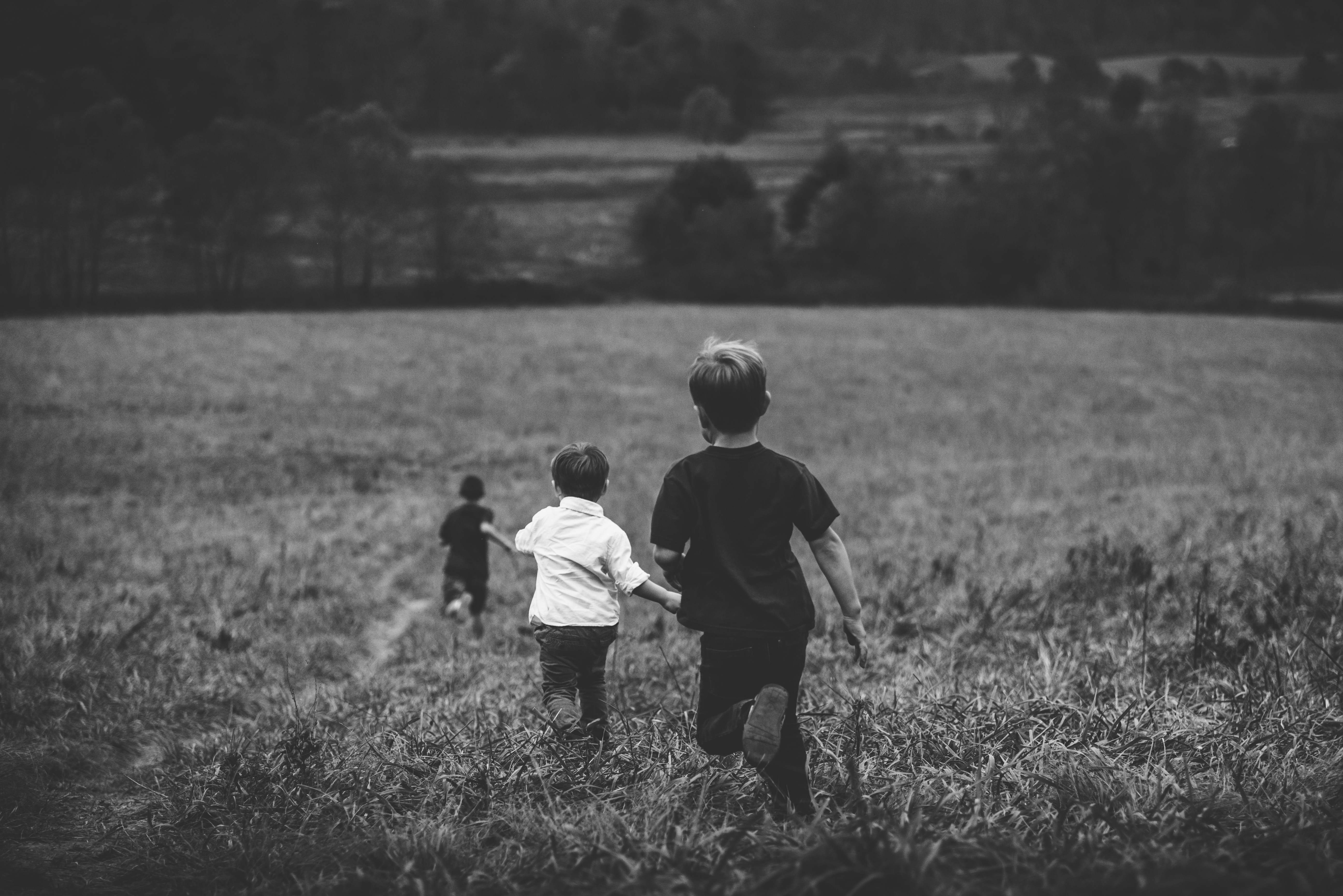 135809 Screensavers and Wallpapers Children for phone. Download Miscellanea, Miscellaneous, Children, Field, Bw, Chb, Run Away, Run pictures for free