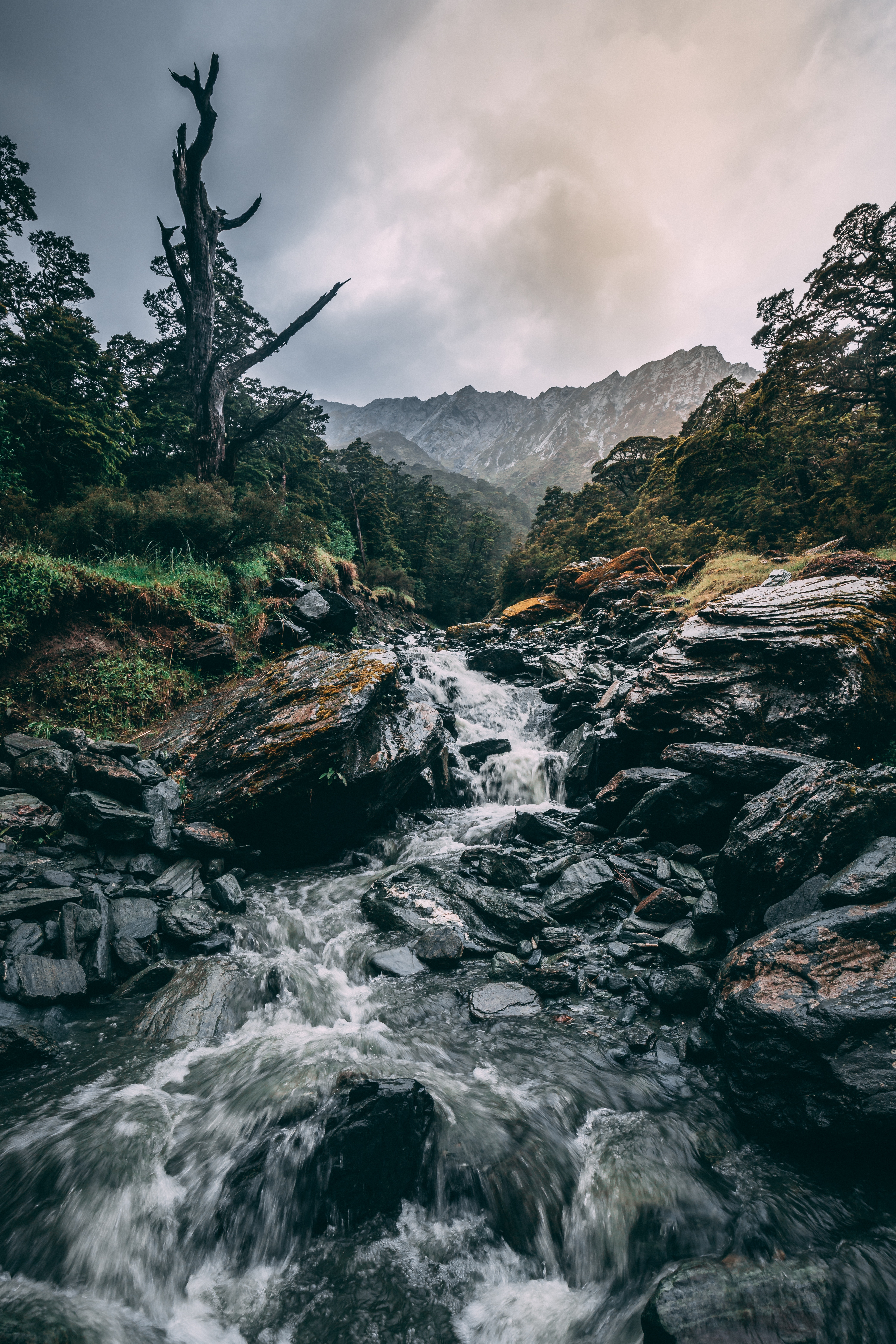 74519 download wallpaper Nature, Grass, Stones, Mountains, Waterfall, Flow screensavers and pictures for free