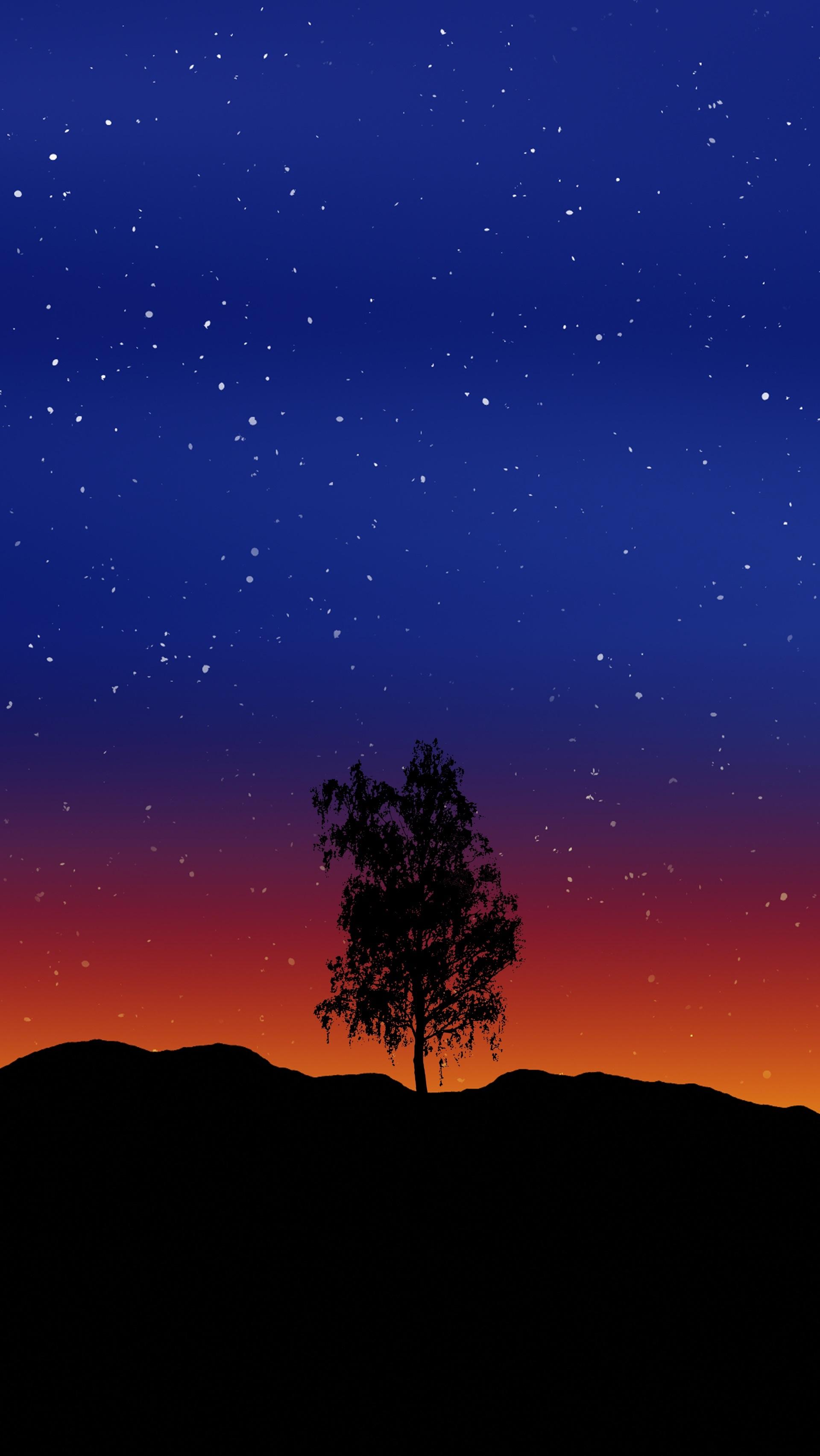 75354 Заставки и Обои Вектор на телефон. Скачать Вектор, Арт, Дерево, Звездное Небо, Одинокий картинки бесплатно