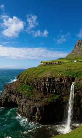 35706 скачать обои Пейзаж, Горы, Море, Водопады - заставки и картинки бесплатно