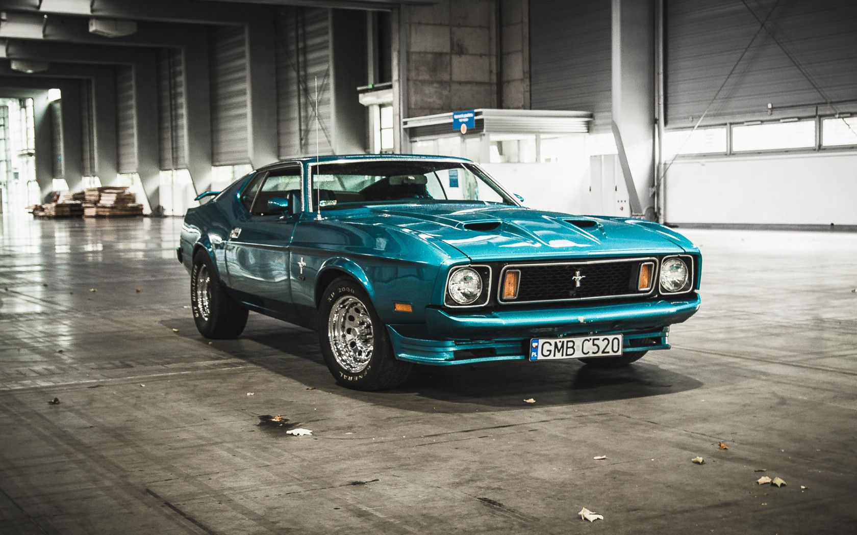 155130 download wallpaper Ford, Mustang, Cars, Front View, Hangar, 1973 screensavers and pictures for free