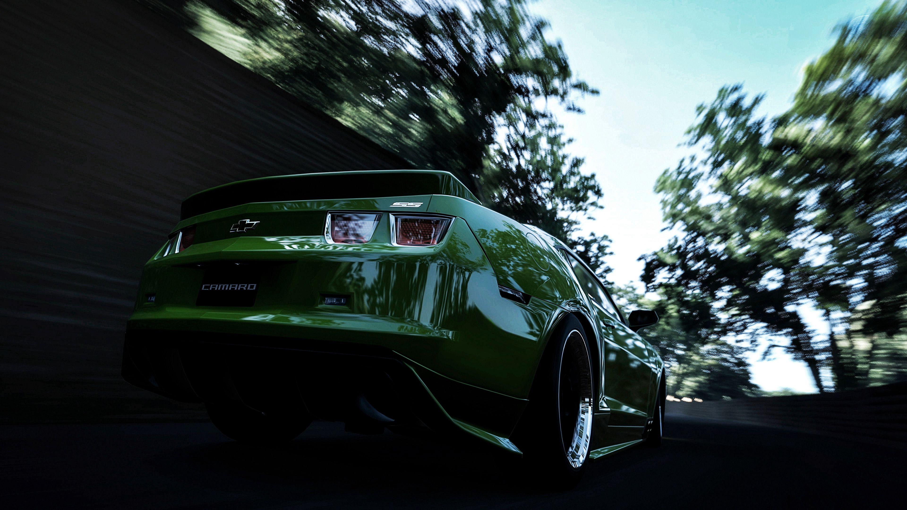 124033 скачать обои Тачки (Cars), Шевроле (Chevrolet), Camaro, Зеленый, Задний Бампер, Скорость, Размытие - заставки и картинки бесплатно