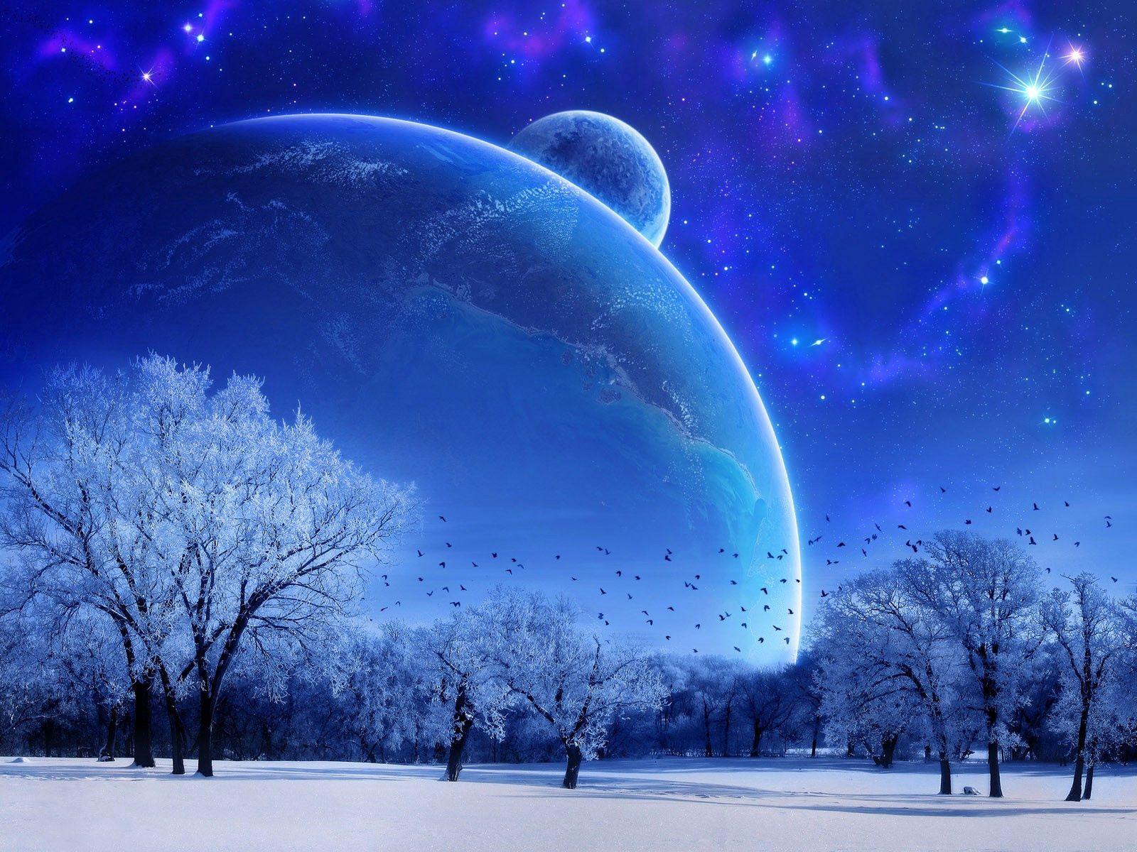 125373 скачать обои Планеты, Фэнтези, Зима, Птицы, Деревья, Звезды - заставки и картинки бесплатно