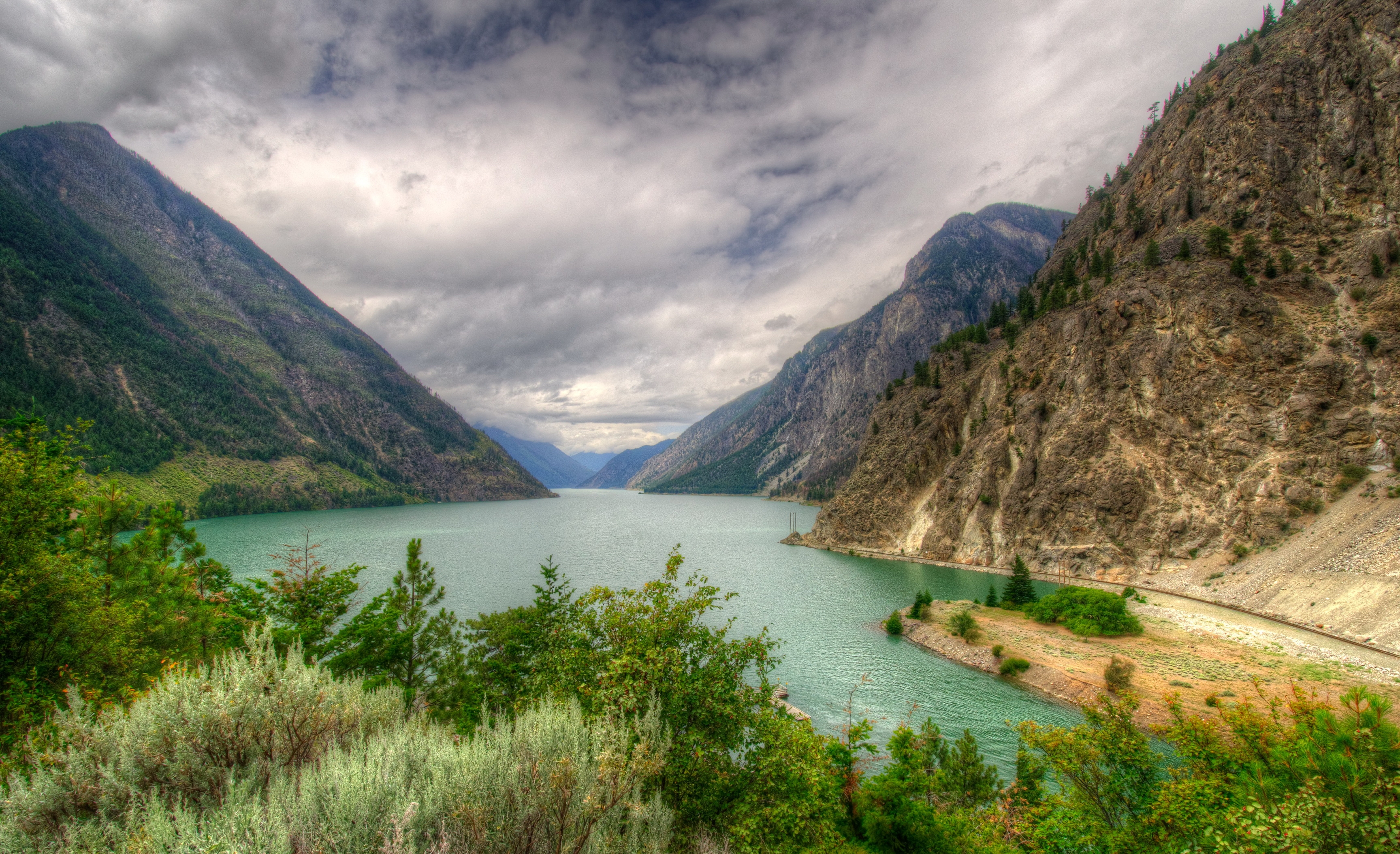 98250 download wallpaper Landscape, Nature, Mountains, Lake, Canada, Hdr, Seton Lillooet screensavers and pictures for free