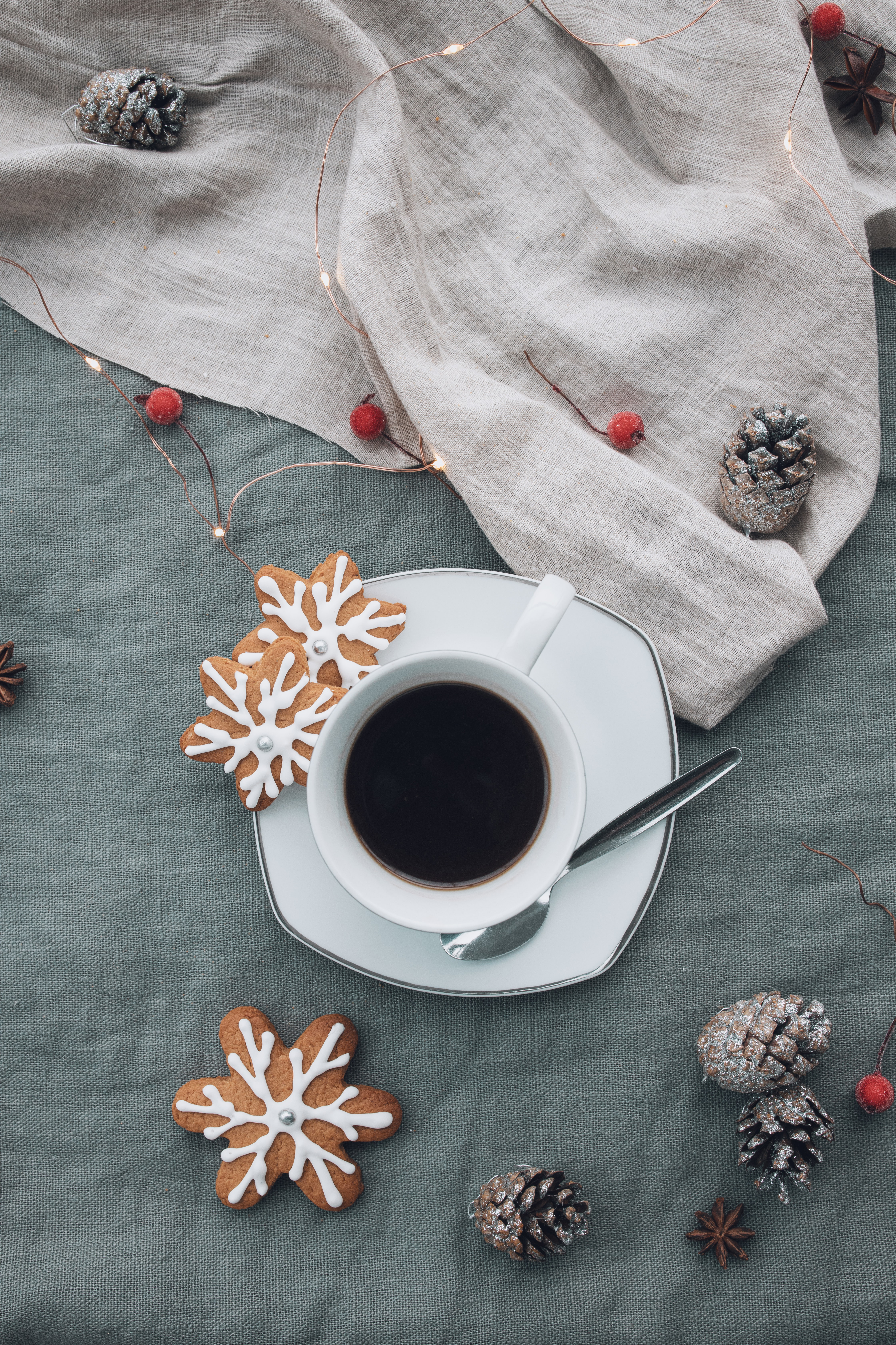 104518 download wallpaper Food, Cup, Coffee, Cookies, Garland, Cones screensavers and pictures for free