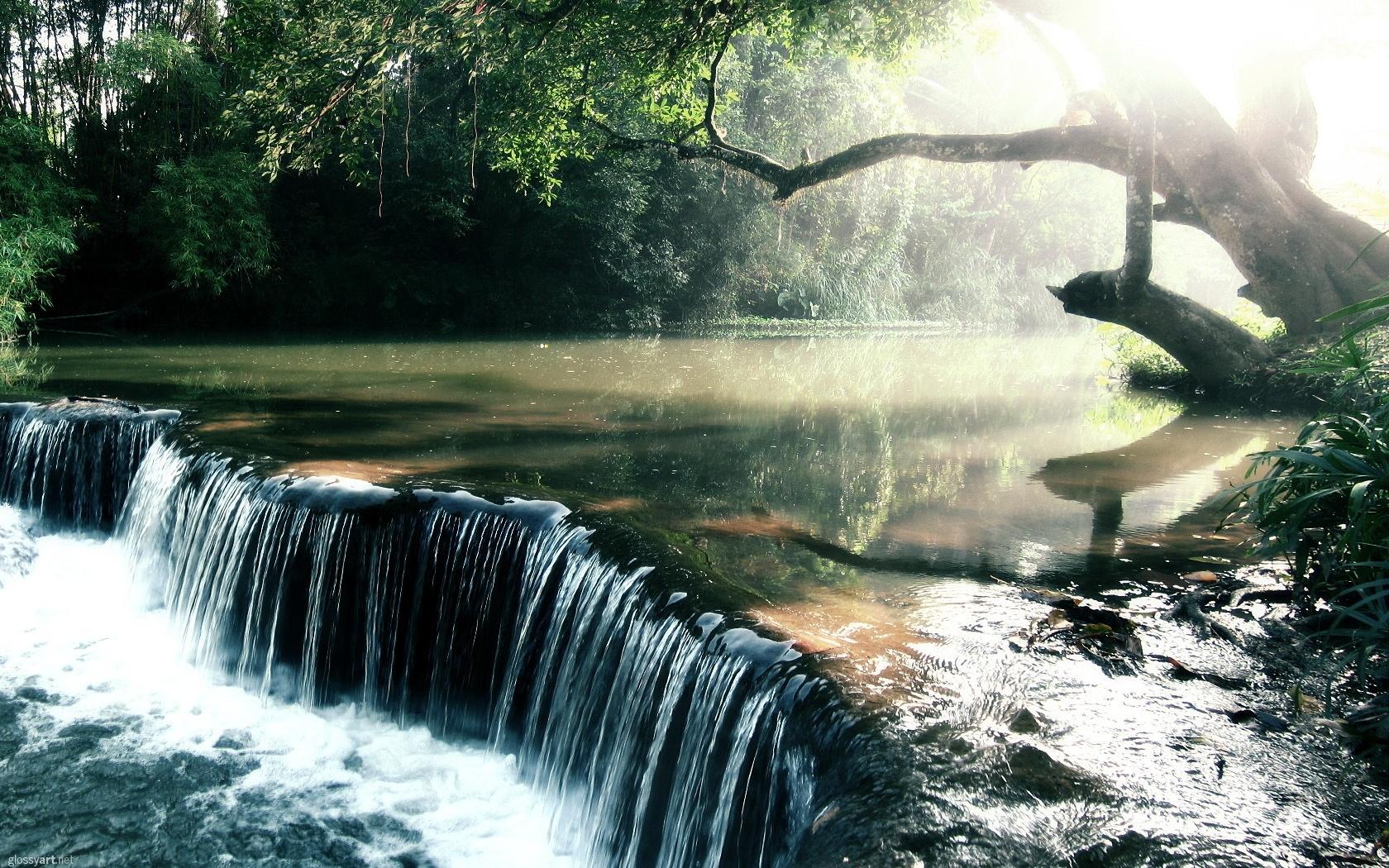 23574 скачать обои Пейзаж, Река, Деревья, Водопады - заставки и картинки бесплатно