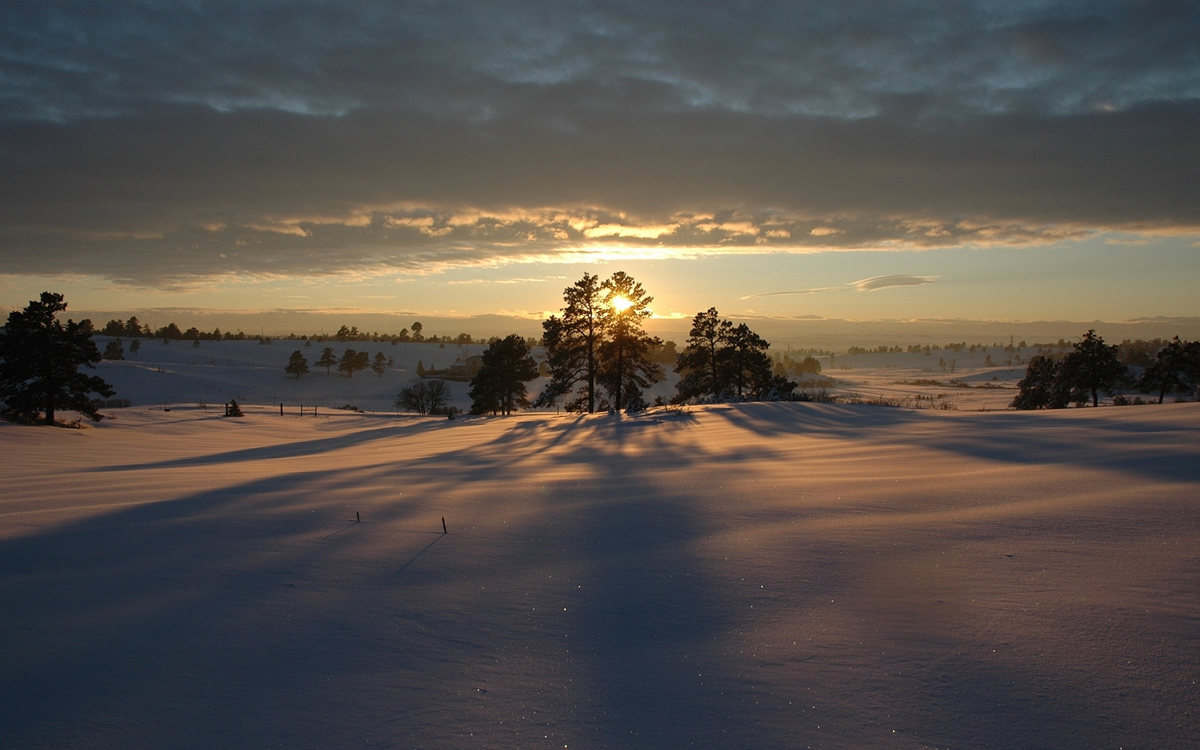 1073 download wallpaper Landscape, Winter, Sunset, Sky, Snow screensavers and pictures for free