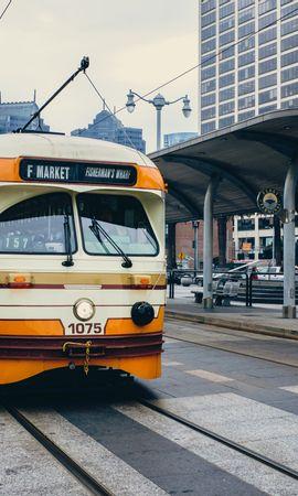 104223 descargar fondo de pantalla Coches, Tranvía, Ciudad, Transporte: protectores de pantalla e imágenes gratis