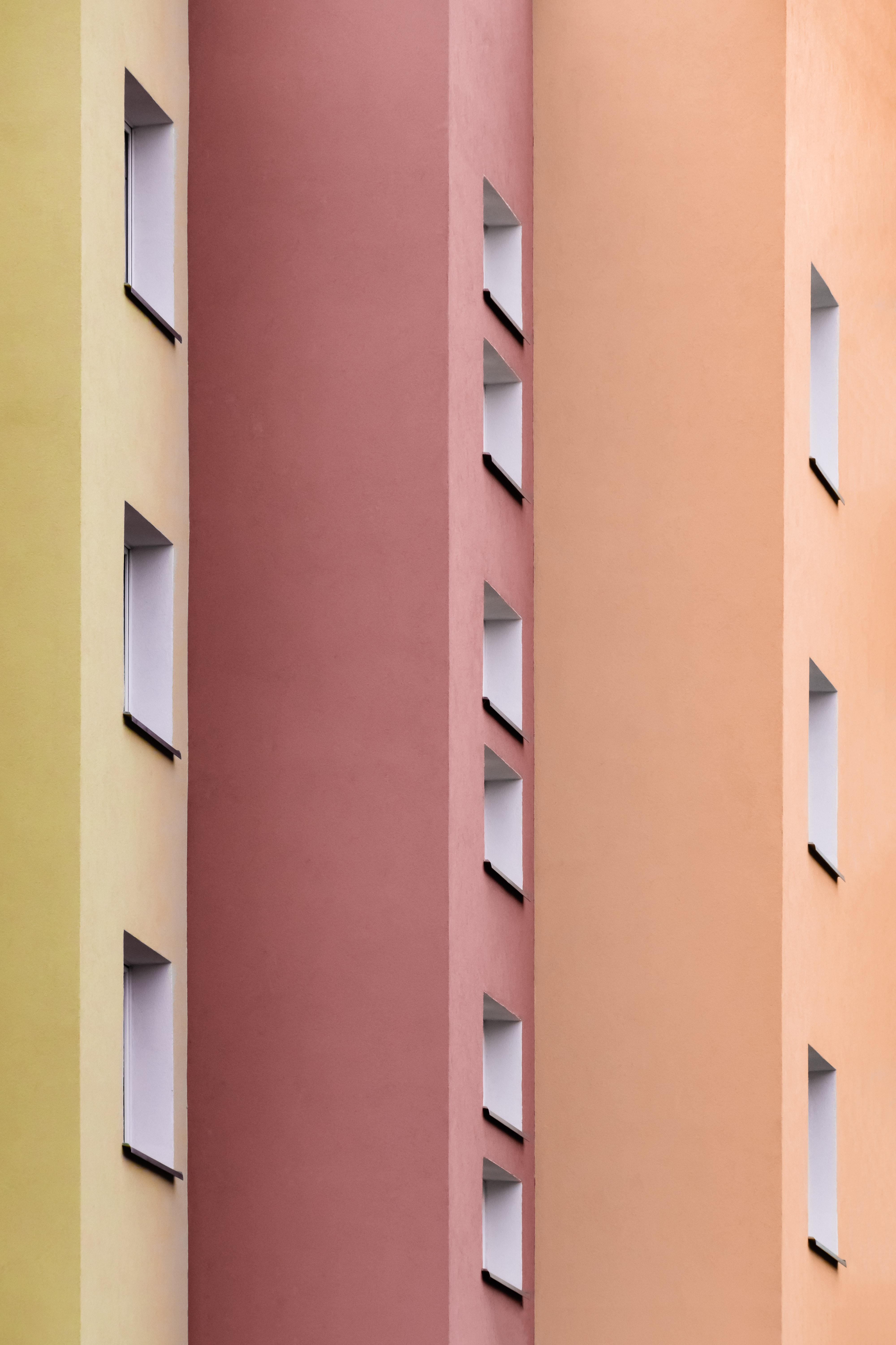 71102 скачать обои Окна, Стены, Архитектура, Разноцветный, Минимализм, Здание, Симметрия - заставки и картинки бесплатно