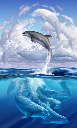 121635 download wallpaper Dolphin, Funny, Underwater World, Art screensavers and pictures for free