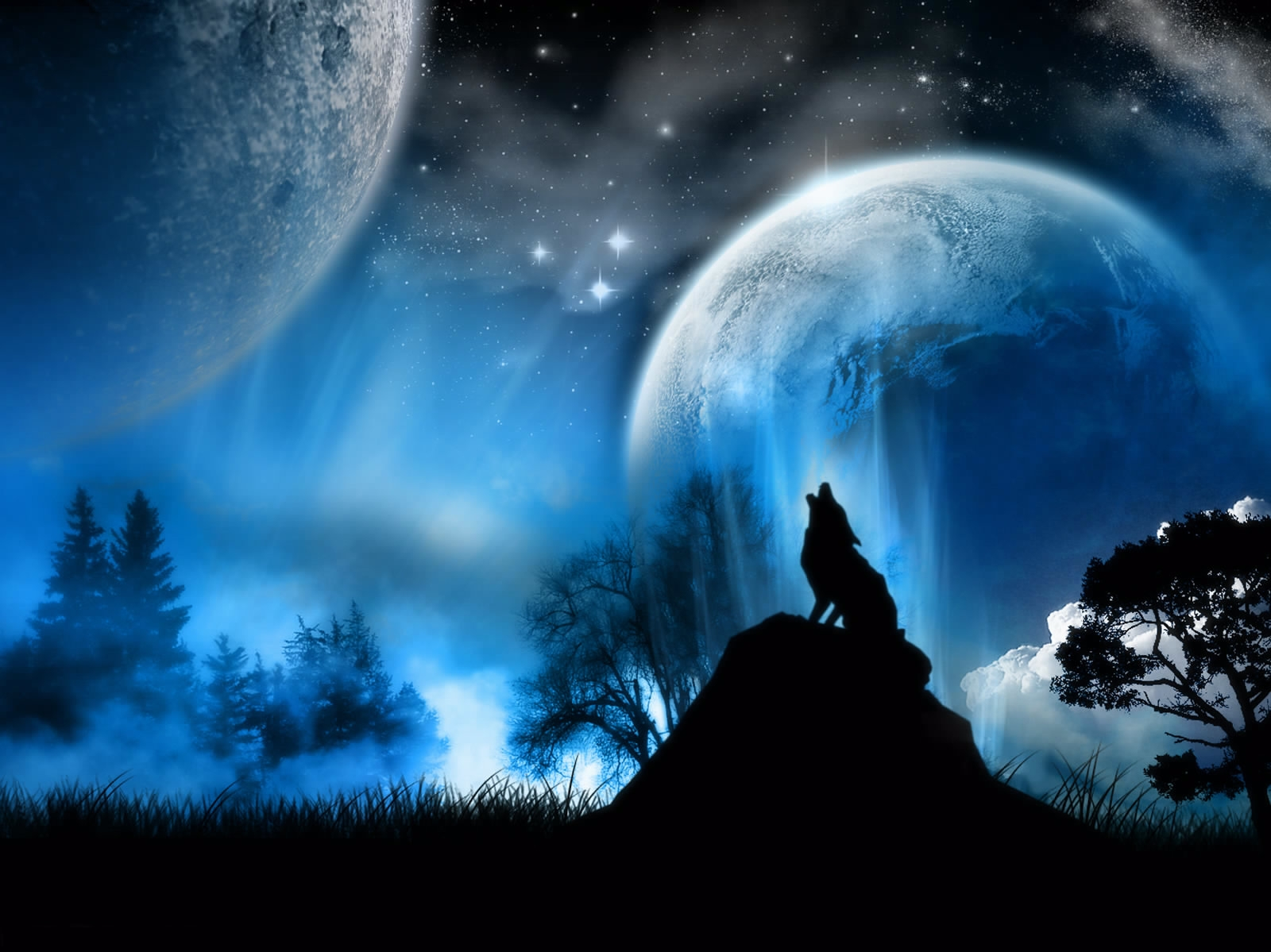 153885 download wallpaper Fantasy, Full Moon, Wolf, Nature screensavers and pictures for free